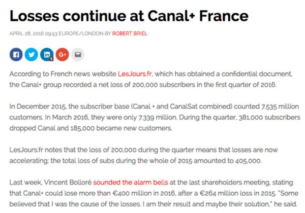 Fairness Rocks News Broadband TV News: Losses continue at Canal+ France