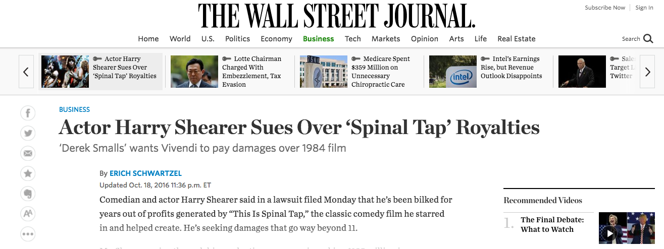 Fairness Rocks News Actor Harry Shearer Sues Over 'Spinal Tap' Royalties