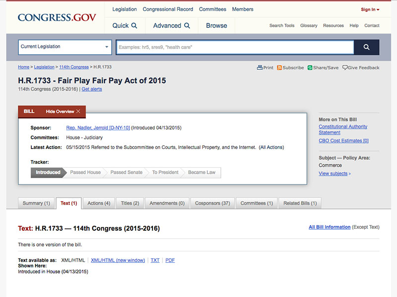 Fairness Rocks News US Congress: H.R.1733 – Fair Play Fair Pay Act of 2015