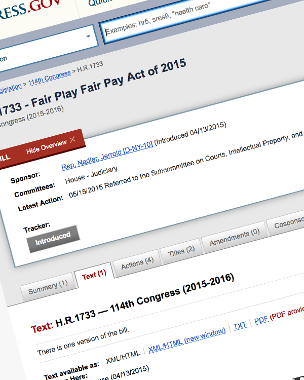 Fairness Rocks News US Congress: H.R.1733 – Fair Play Fair Pay Act of 2015