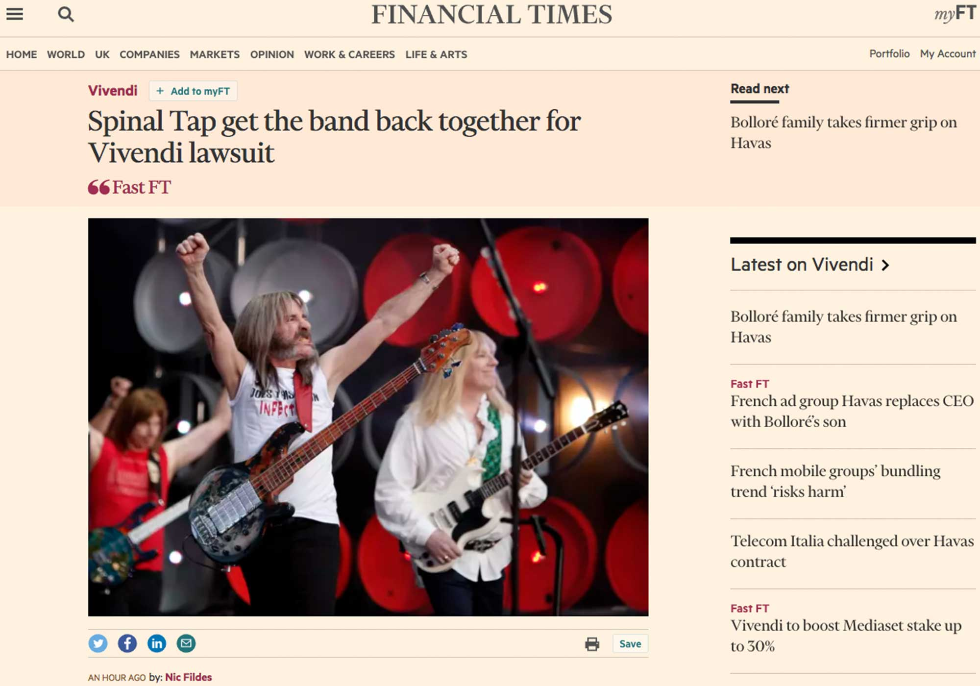 Fairness Rocks News Spinal Tap get the band back together for Vivendi lawsuit
