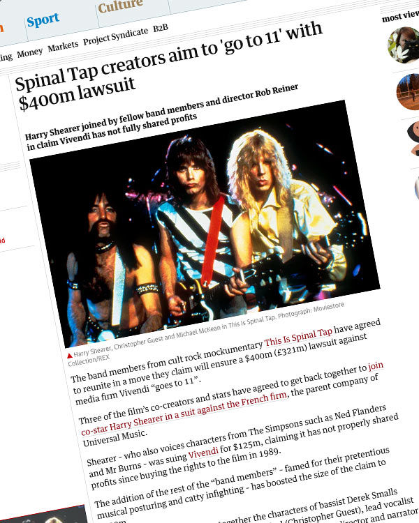 Fairness Rocks News Spinal Tap creators aim to 'go to 11' with $400m lawsuit