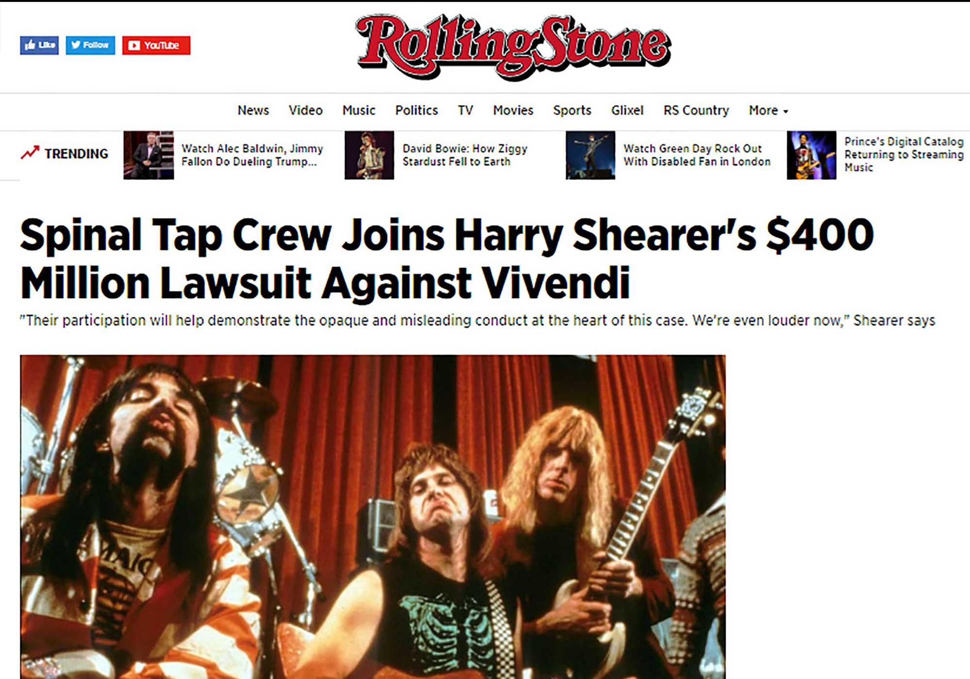 Fairness Rocks News Spinal Tap Crew Joins Harry Shearer's $400 Million Lawsuit Against Vivendi