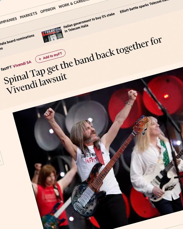 Fairness Rocks News Spinal Tap get the band back together for Vivendi lawsuit