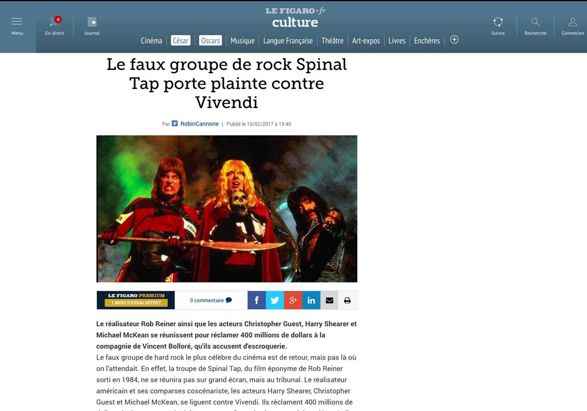 Fairness Rocks News Le faux groupe de rock Spinal Tap porte plainte contre Vivendi
