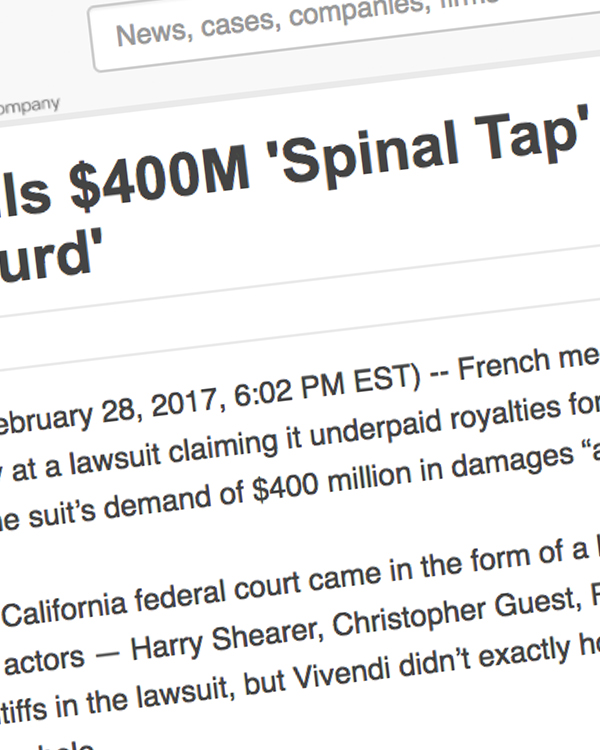 Fairness Rocks News Vivendi Calls $400M 'Spinal Tap' Royalties Claim 'Absurd'
