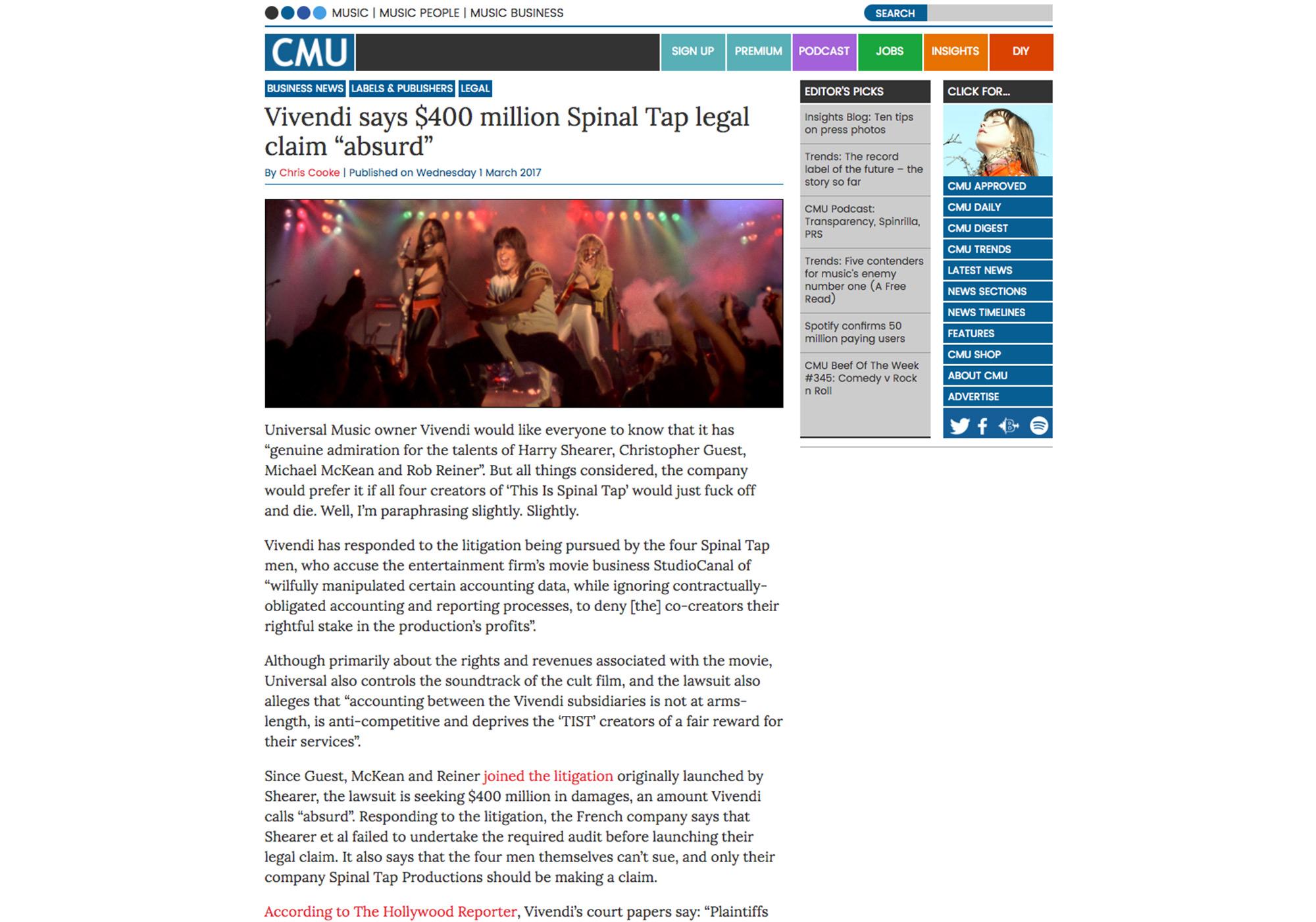 "Fairness Rocks News Vivendi says $400 million Spinal Tap legal claim ""absurd"""