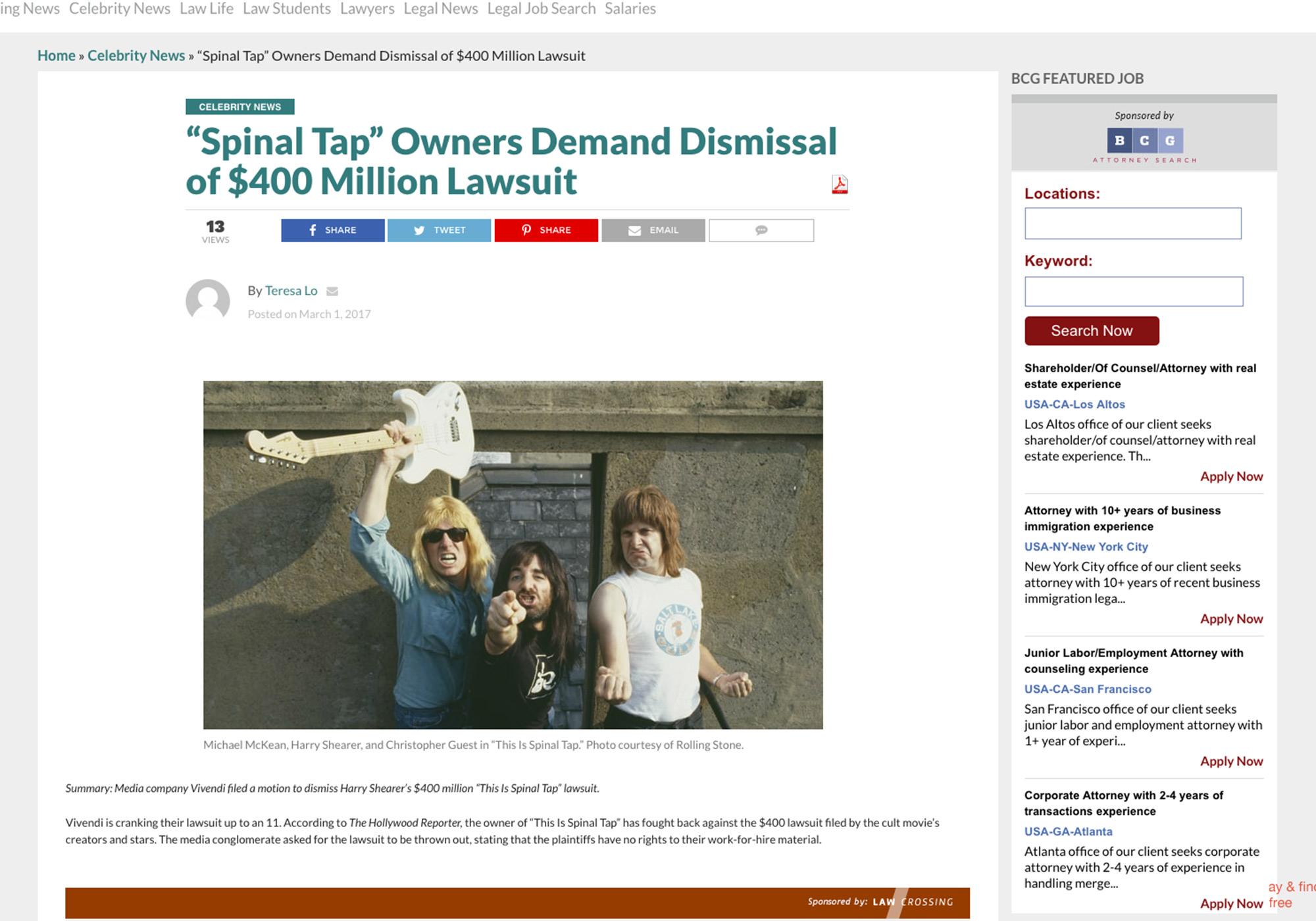 "Fairness Rocks News ""Spinal Tap"" Owners Demand Dismissal of $400 Million Lawsuit"