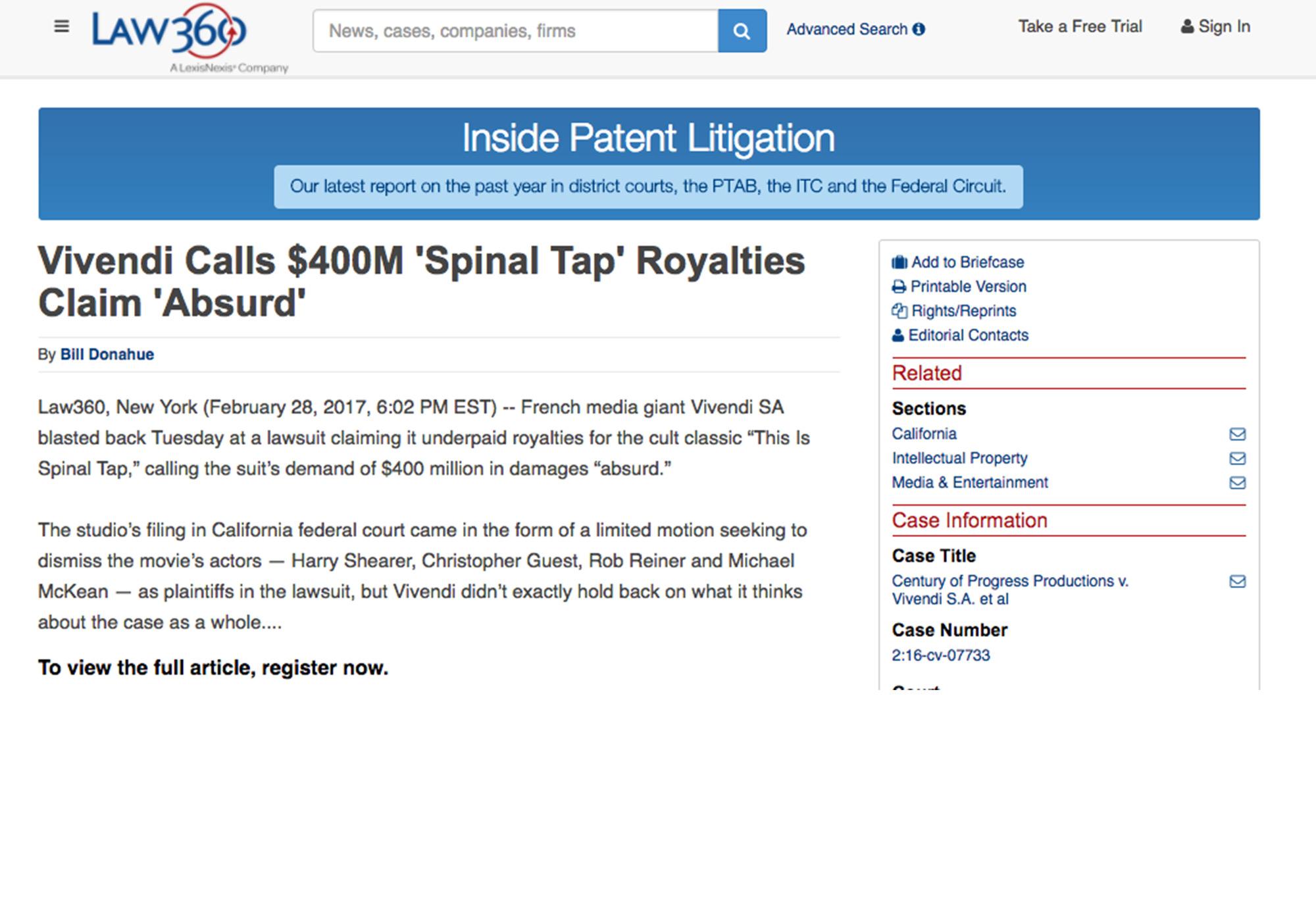 Fairness Rocks News Vivendi Calls $400M 'Spinal Tap' Royalties Claim 'Absurd'