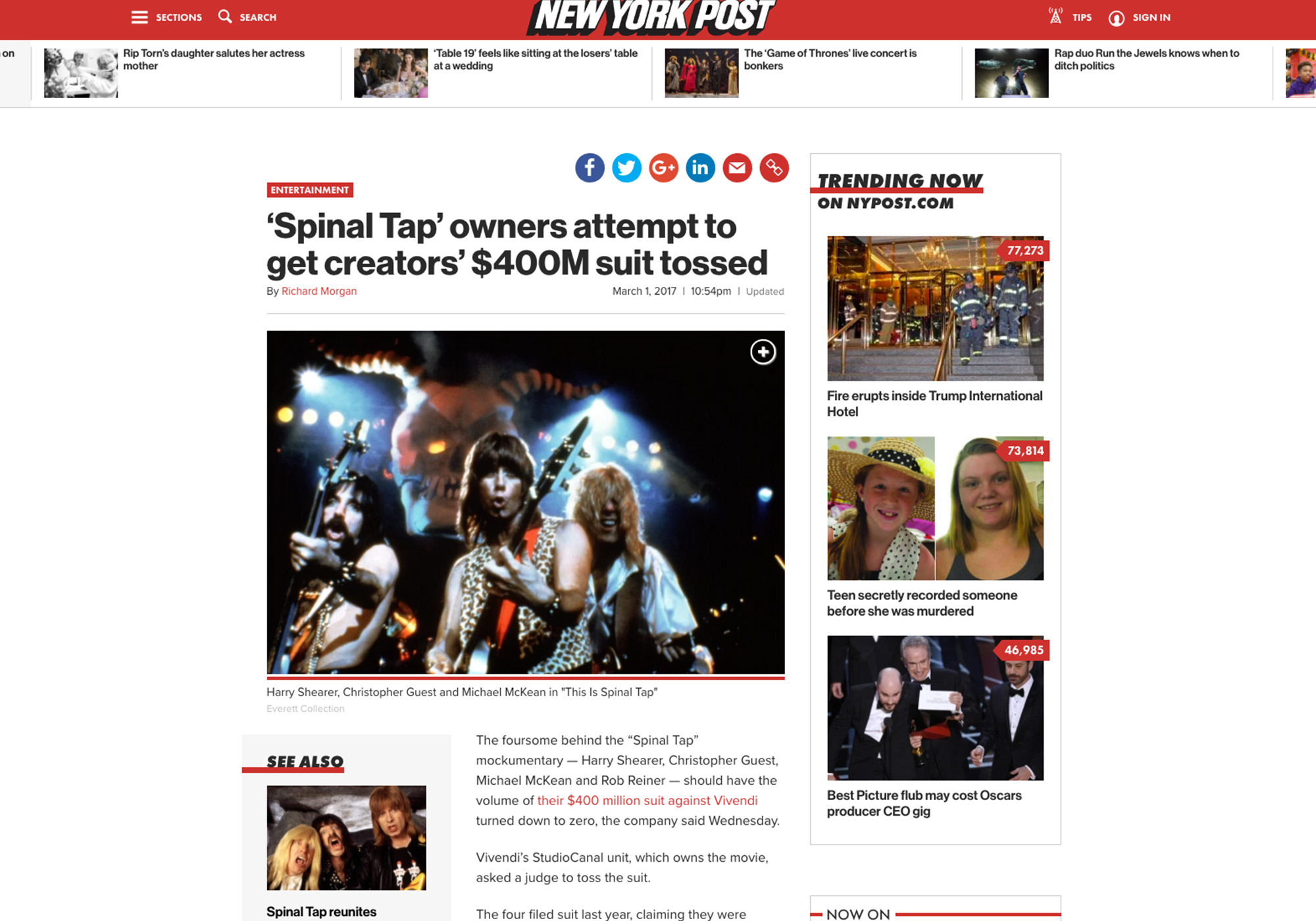 Fairness Rocks News 'Spinal Tap' owners attempt to get creators' $400M suit tossed