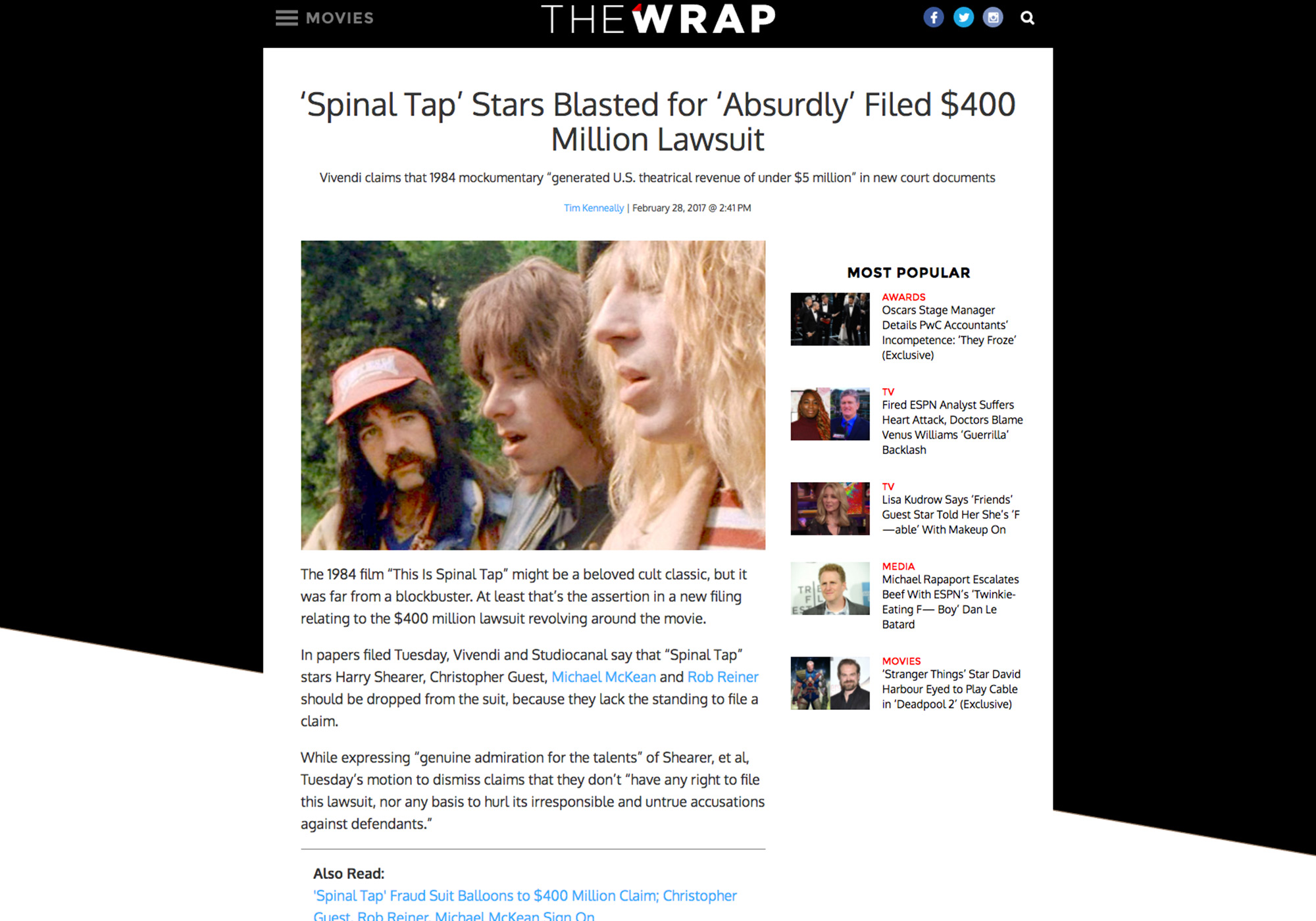 Fairness Rocks News 'Spinal Tap' Stars Blasted for 'Absurdly' Filed $400 Million Lawsuit