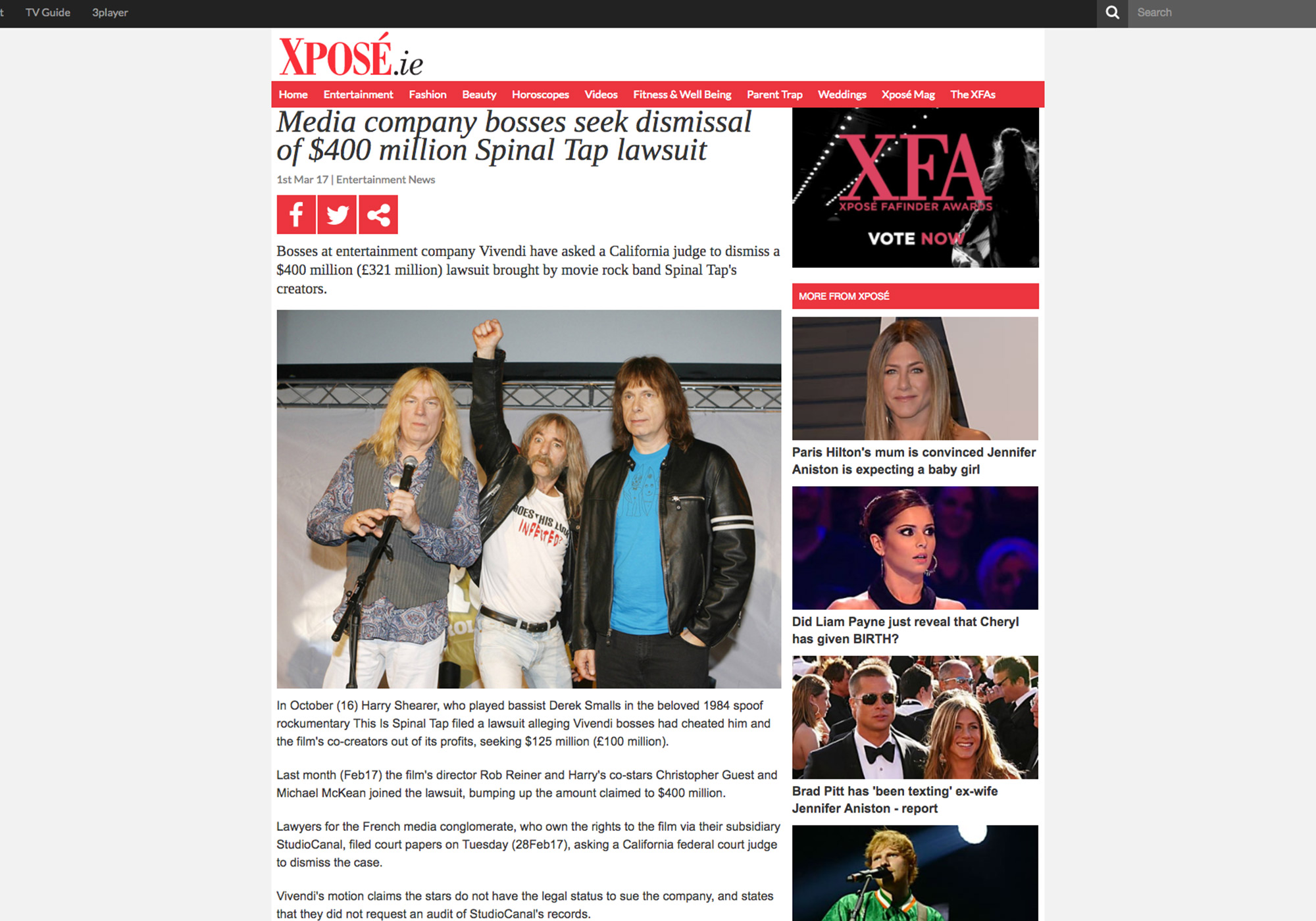 Fairness Rocks News Media company bosses seek dismissal of $400 million Spinal Tap lawsuit