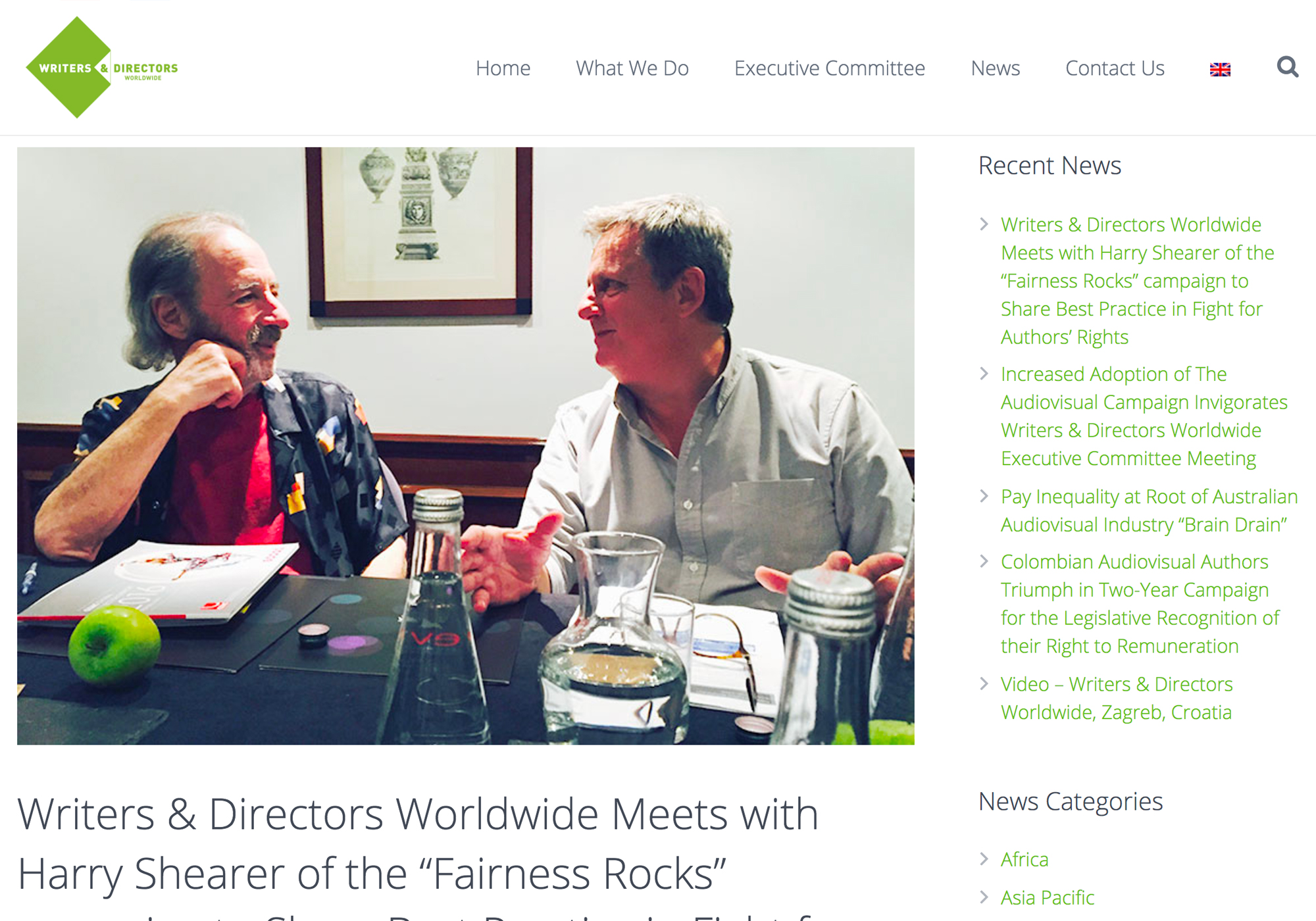 """Fairness Rocks News Writers & Directors Worldwide Meets with Harry Shearer of the """"Fairness Rocks"""" campaign to Share Best Practice in Fight for Authors' Rights"""