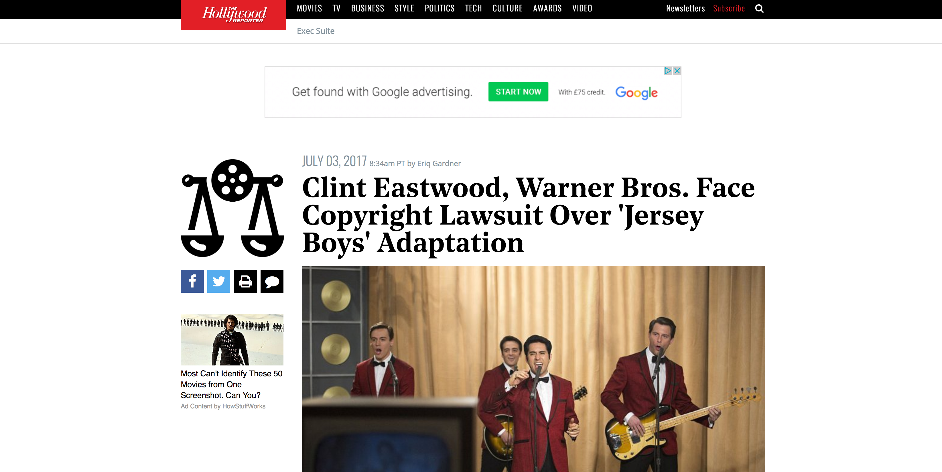 Fairness Rocks News Clint Eastwood, Warner Bros. Face Copyright Lawsuit Over 'Jersey Boys' Adaptation