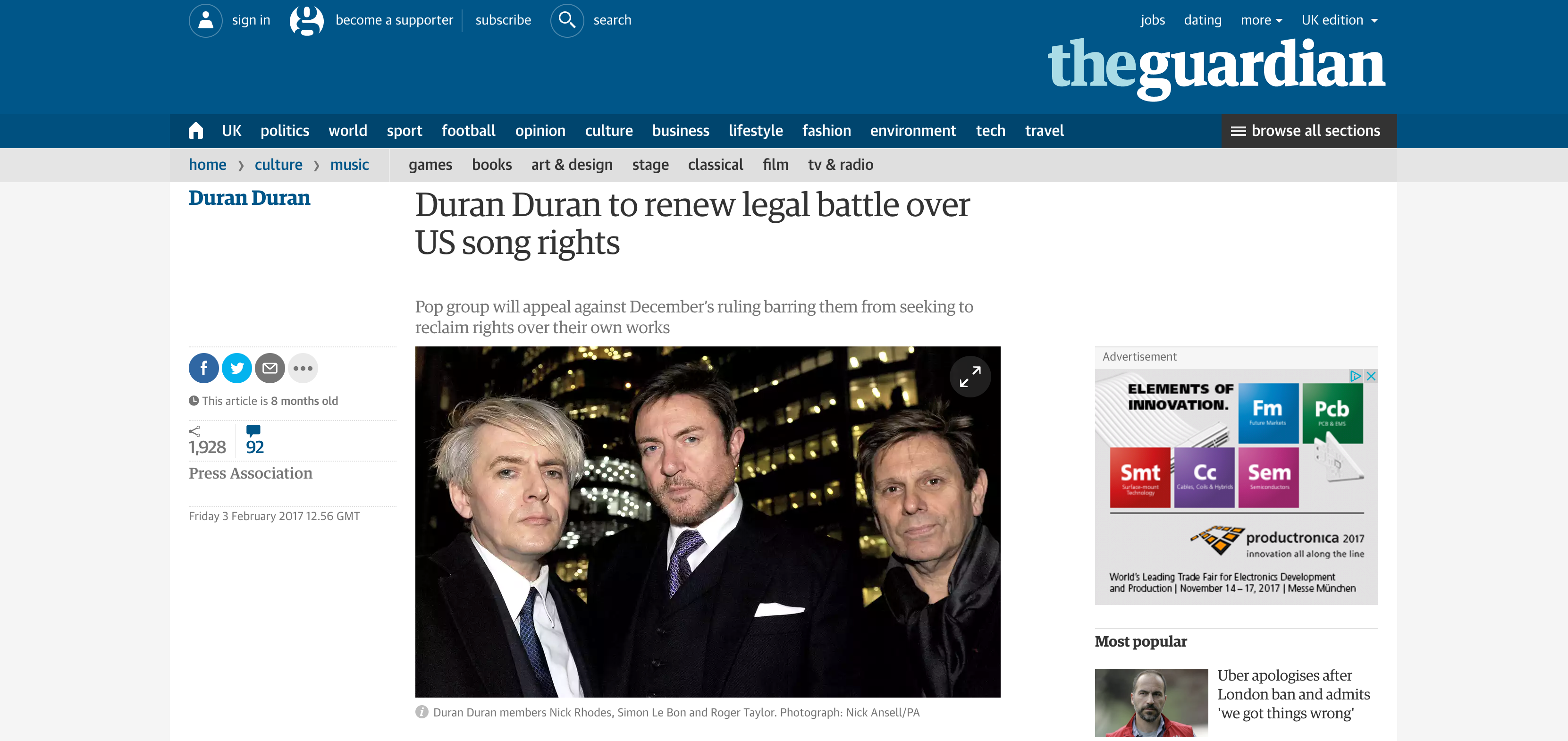 Fairness Rocks News Duran Duran to renew legal battle over US song rights