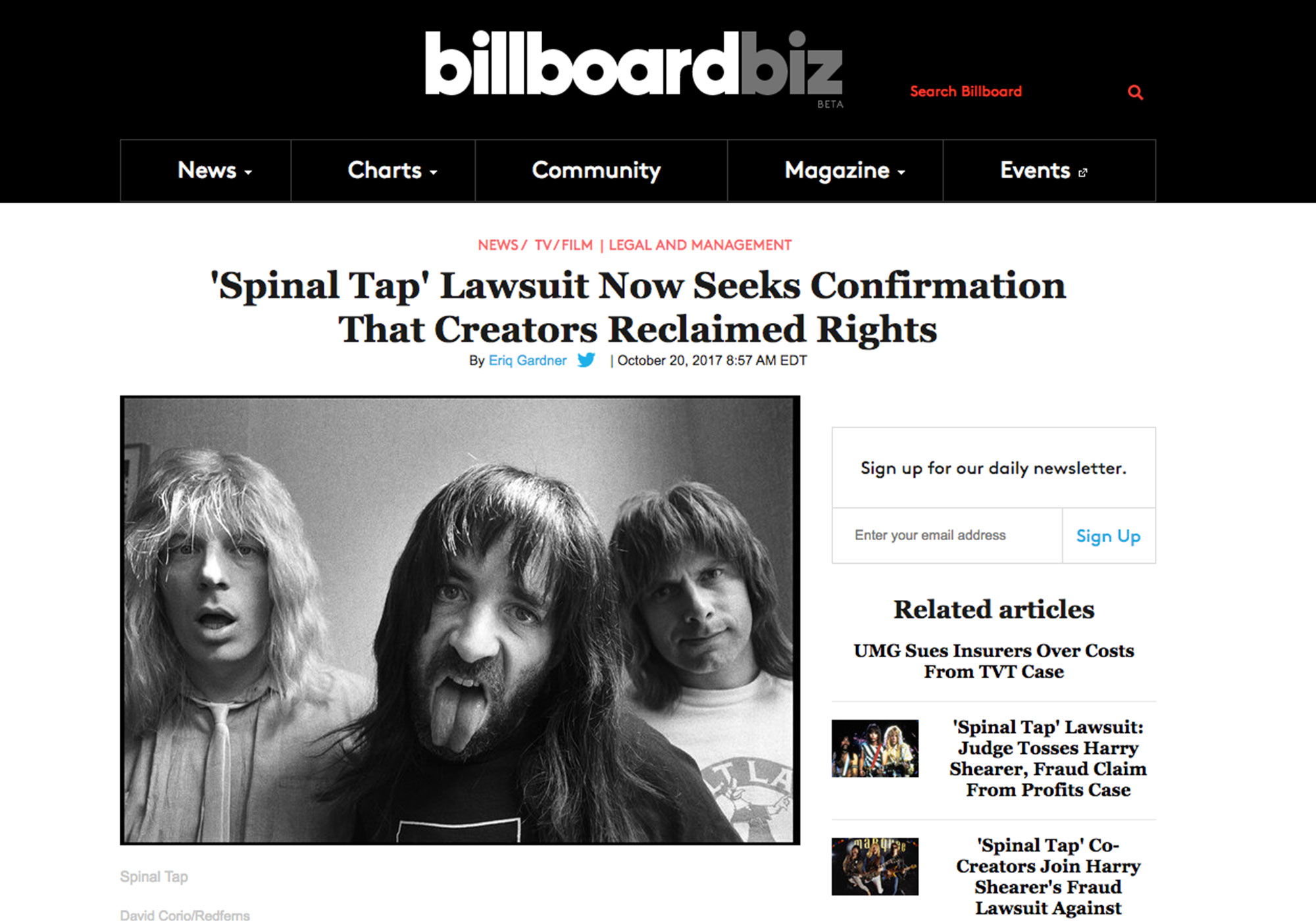 Fairness Rocks News 'Spinal Tap' Lawsuit Now Seeks Confirmation That Creators Reclaimed Rights Billboard
