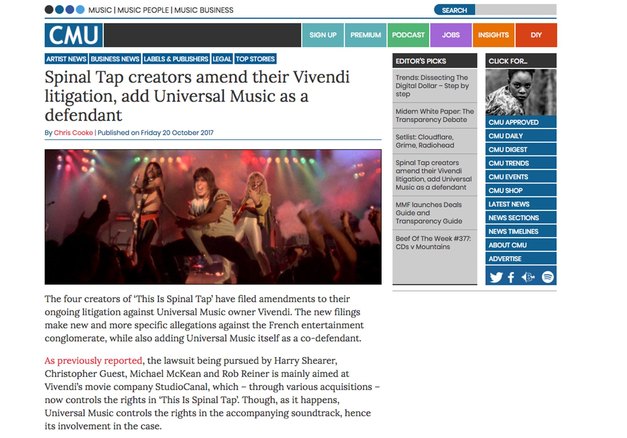Fairness Rocks News Spinal Tap creators amend their Vivendi litigation, add Universal Music as a defendant