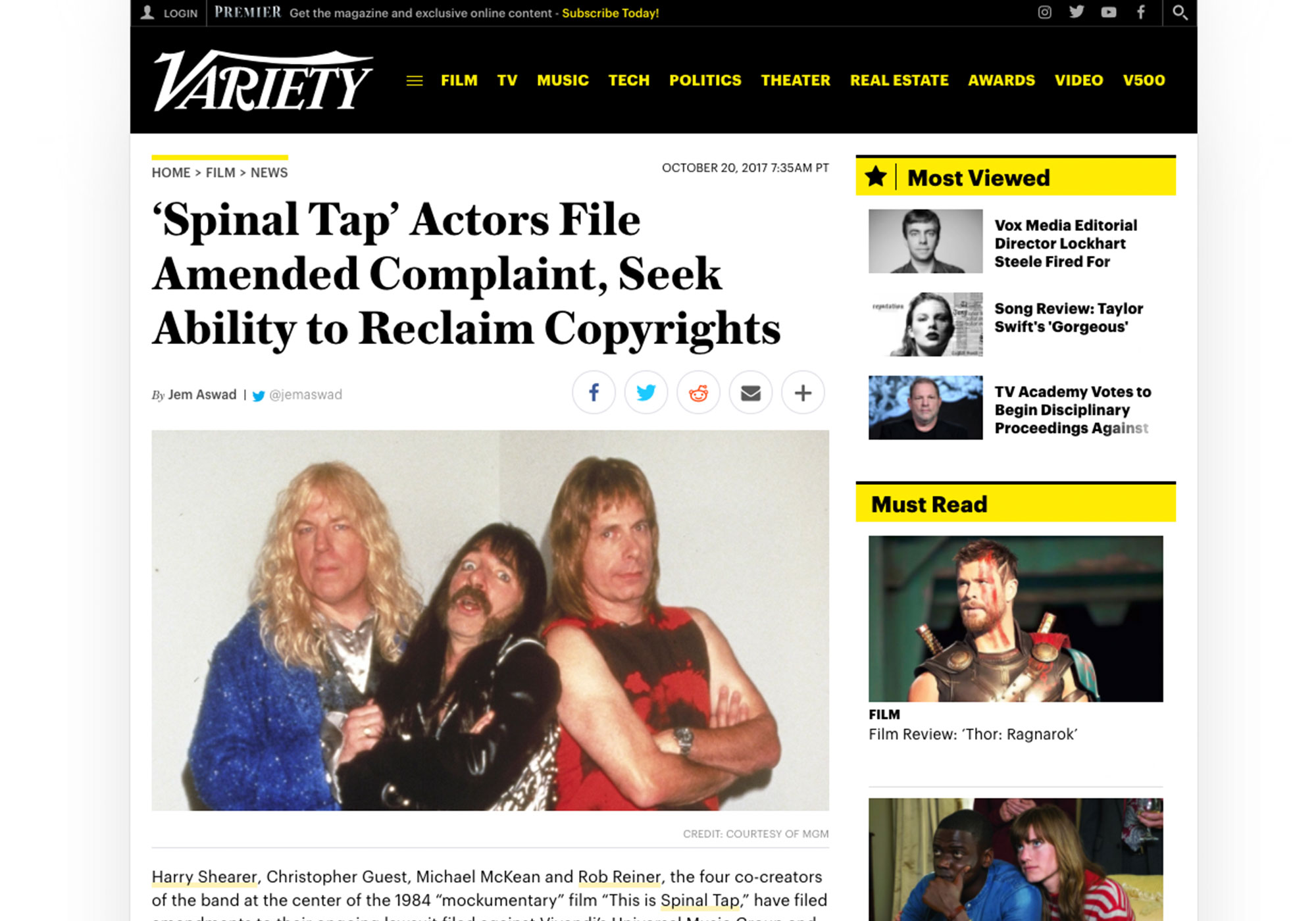 Fairness Rocks News 'Spinal Tap' Actors File Amended Complaint, Seek Ability to Reclaim Copyrights