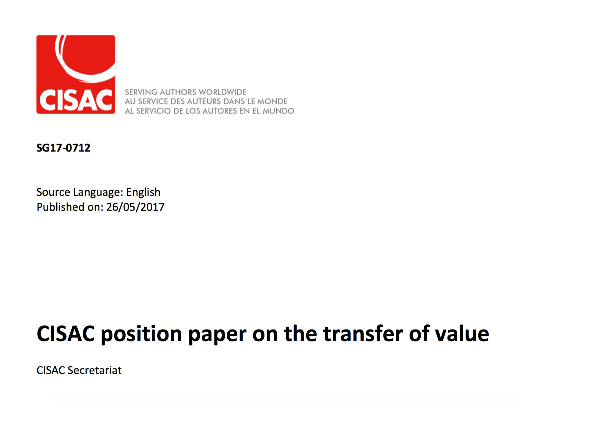 Fairness Rocks News CISAC position paper on the transfer of value
