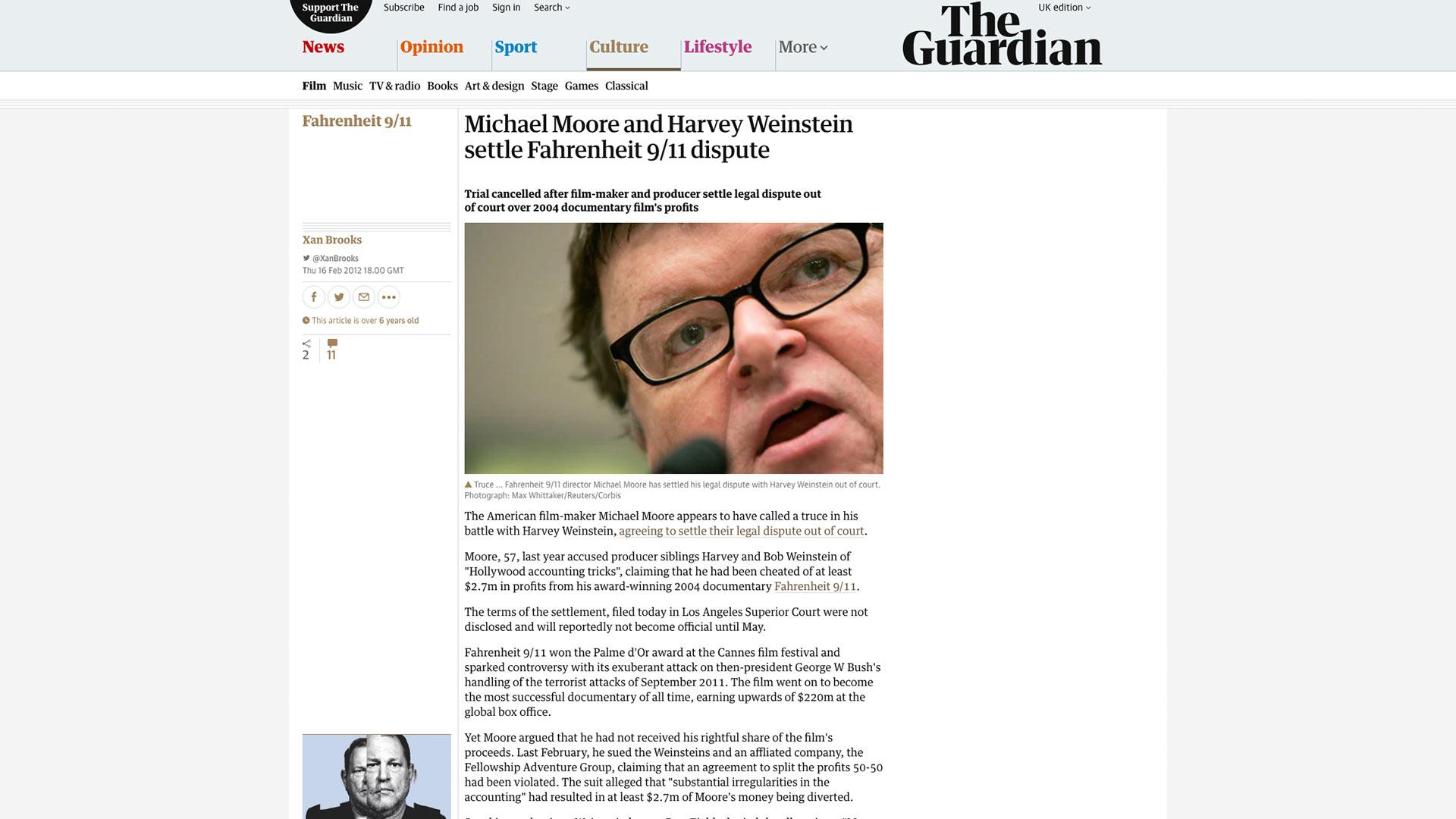 Fairness Rocks News Michael Moore and Harvey Weinstein settle Fahrenheit 9/11 dispute