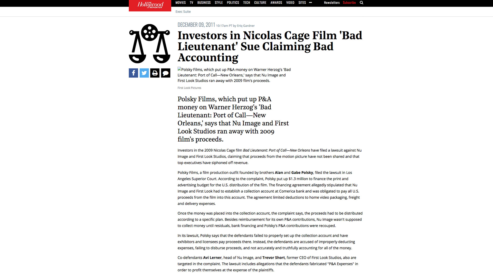 Fairness Rocks News Investors in Nicolas Cage Film 'Bad Lieutenant' Sue Claiming Bad Accounting