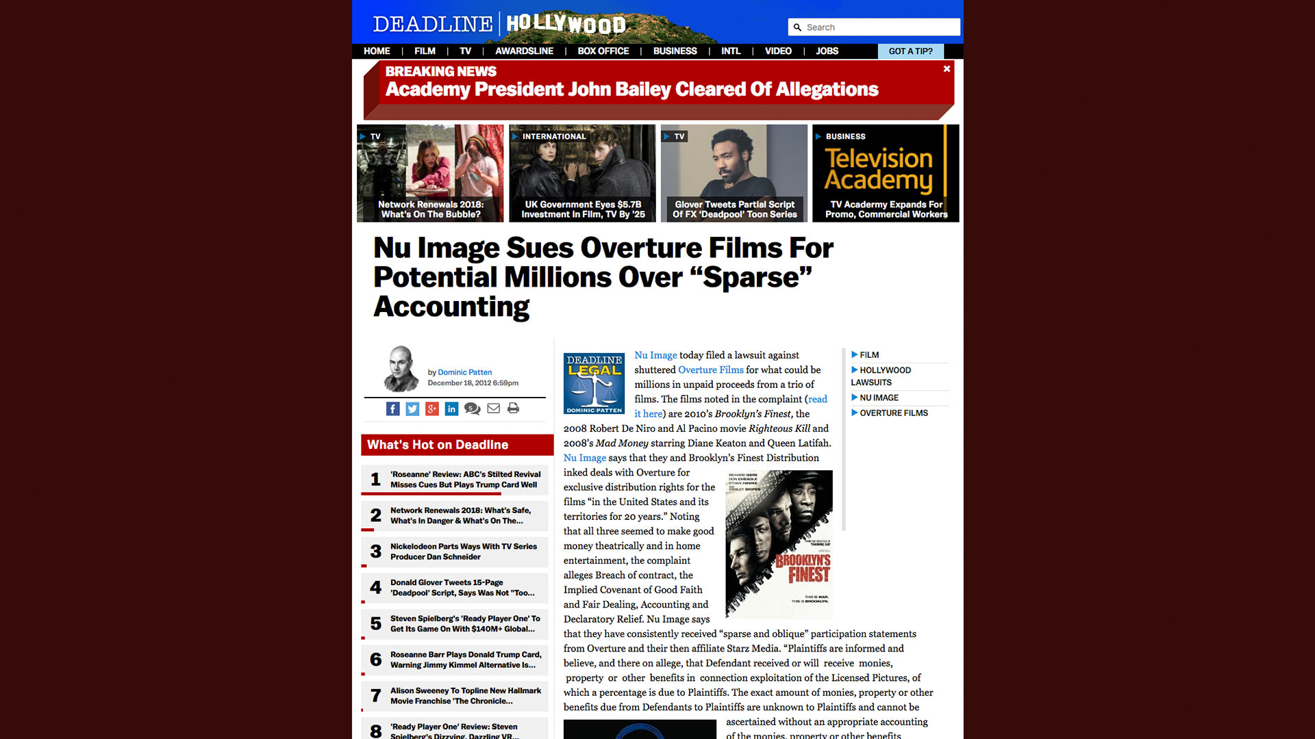 "Fairness Rocks News Nu Image Sues Overture Films For Potential Millions Over ""Sparse"" Accounting"