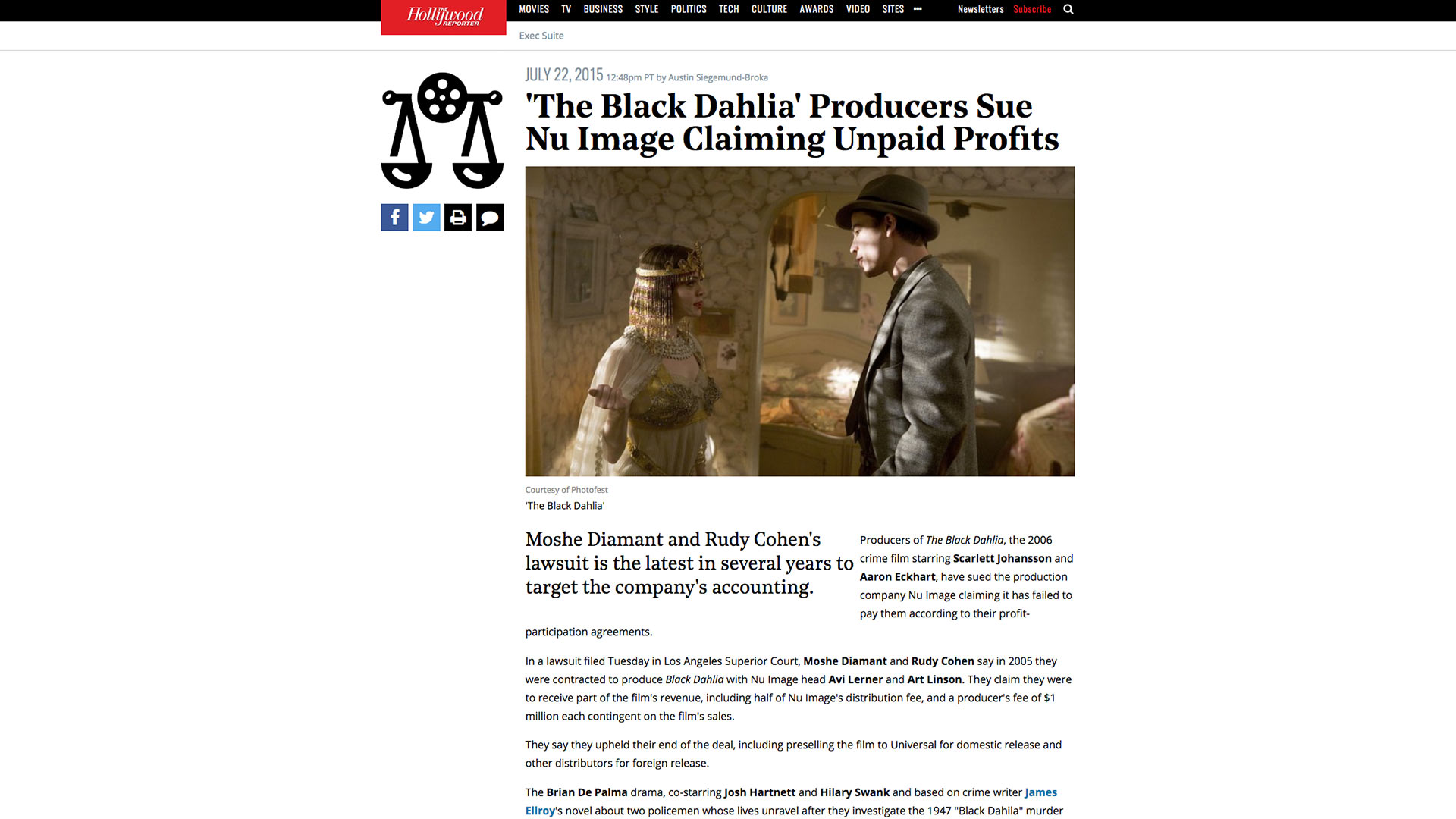 Fairness Rocks News 'The Black Dahlia' Producers Sue Nu Image Claiming Unpaid Profits