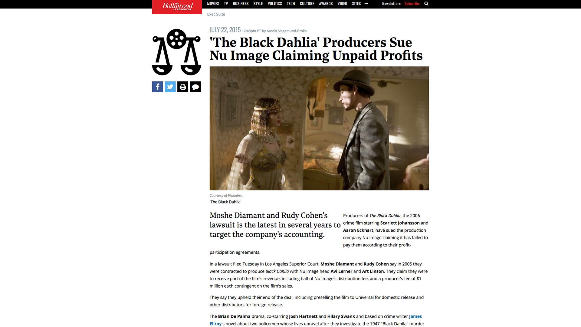 Fairness Rocks News 'The Black Dahlia' Producers Sue Nu Image Claiming Unpaid Profits