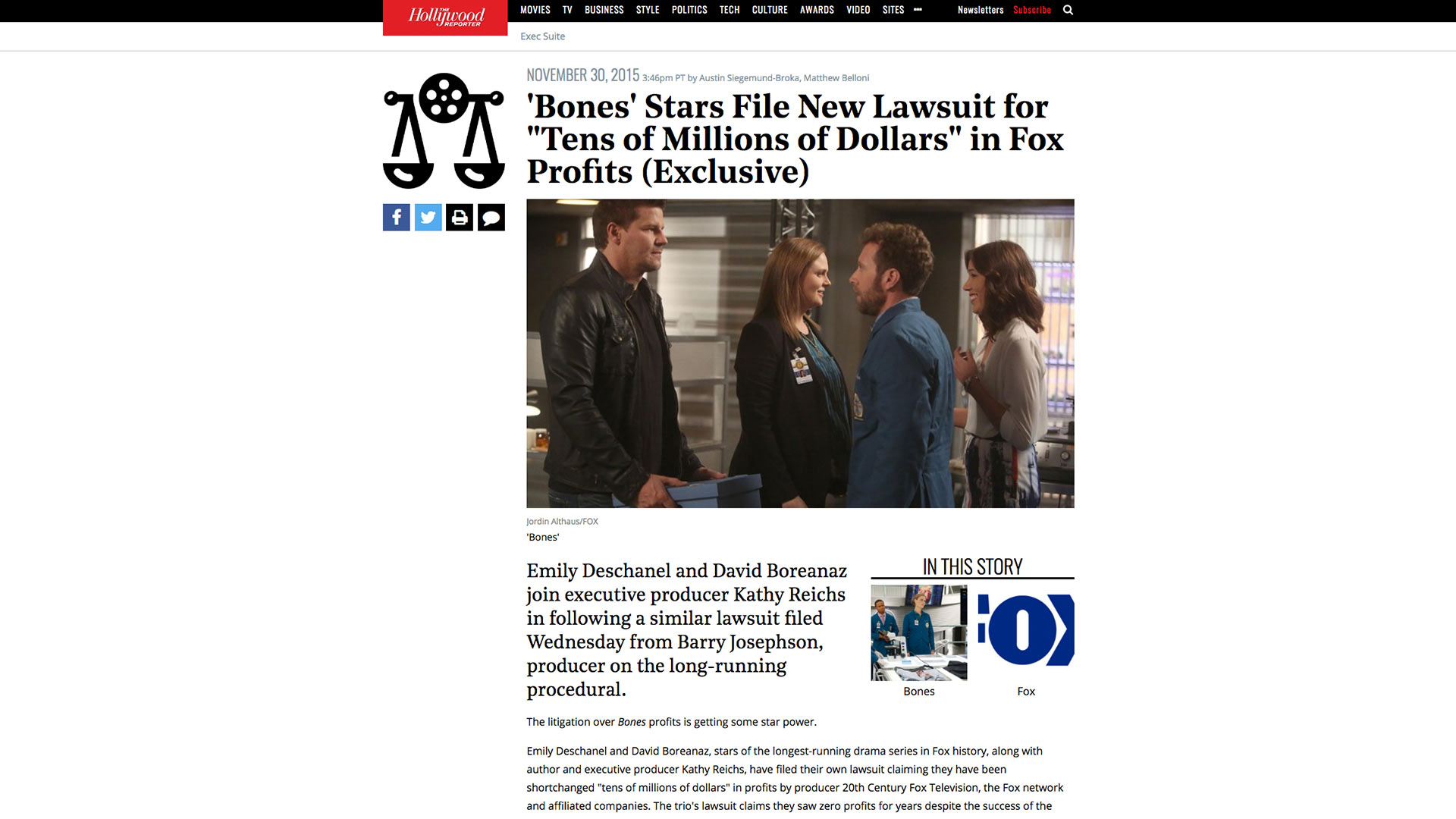 "Fairness Rocks News 'Bones' Stars File New Lawsuit for ""Tens of Millions of Dollars"" in Fox Profits (Exclusive)"