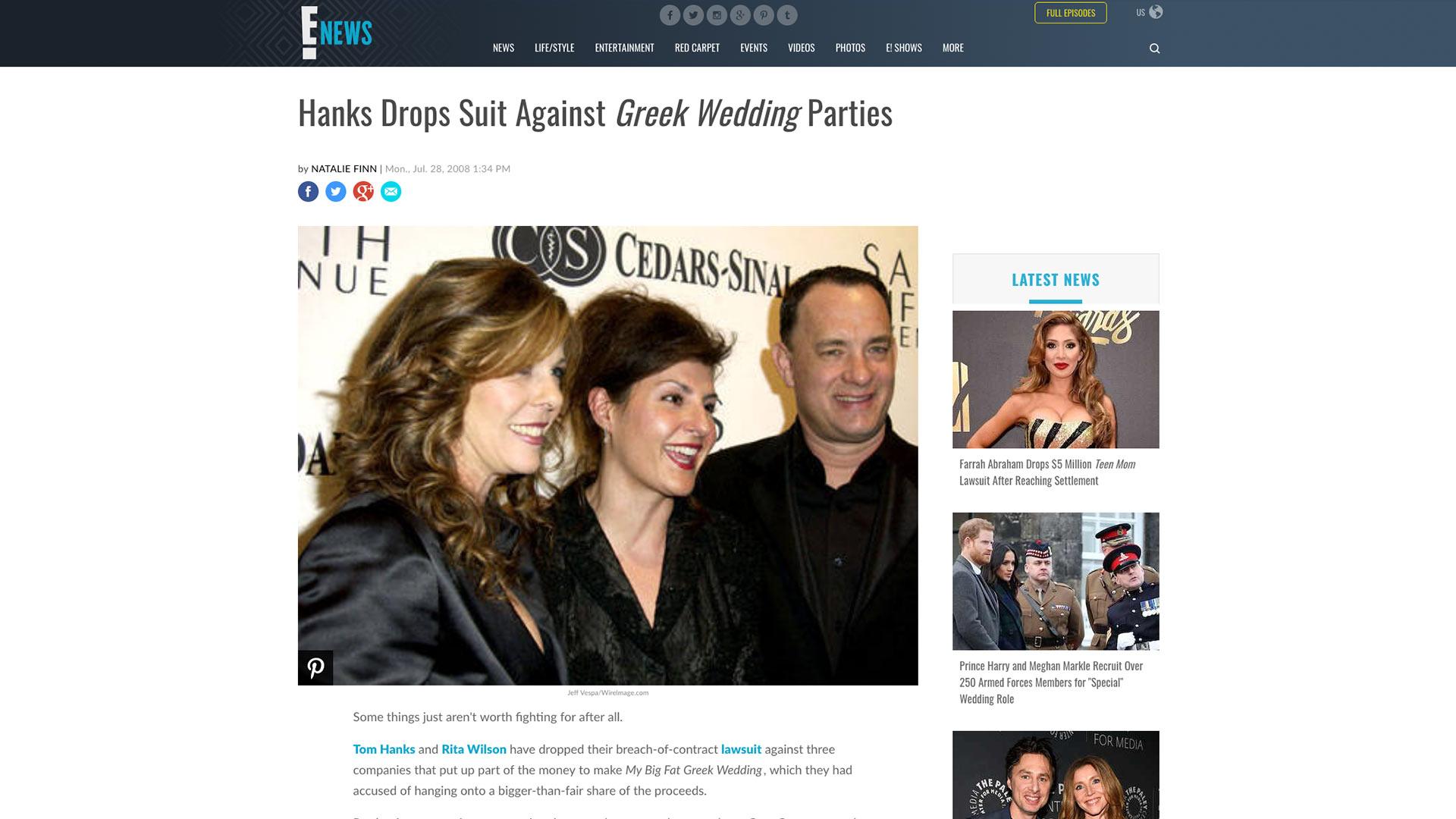 Fairness Rocks News Hanks Drops Suit Against Greek Wedding Parties