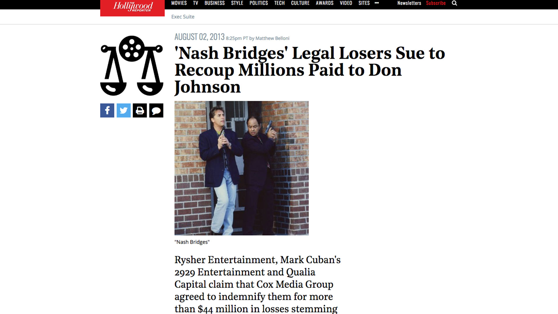 Fairness Rocks News 'Nash Bridges' Legal Losers Sue to Recoup Millions Paid to Don Johnson
