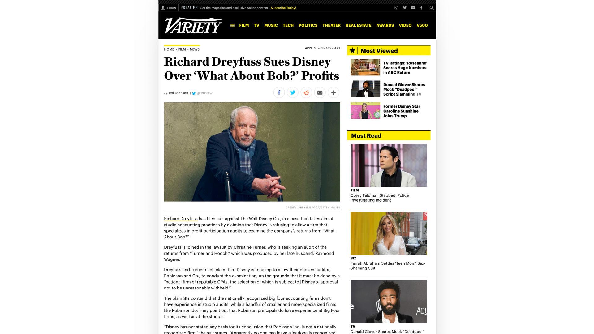 Fairness Rocks News Richard Dreyfuss Sues Disney Over 'What About Bob?' Profits
