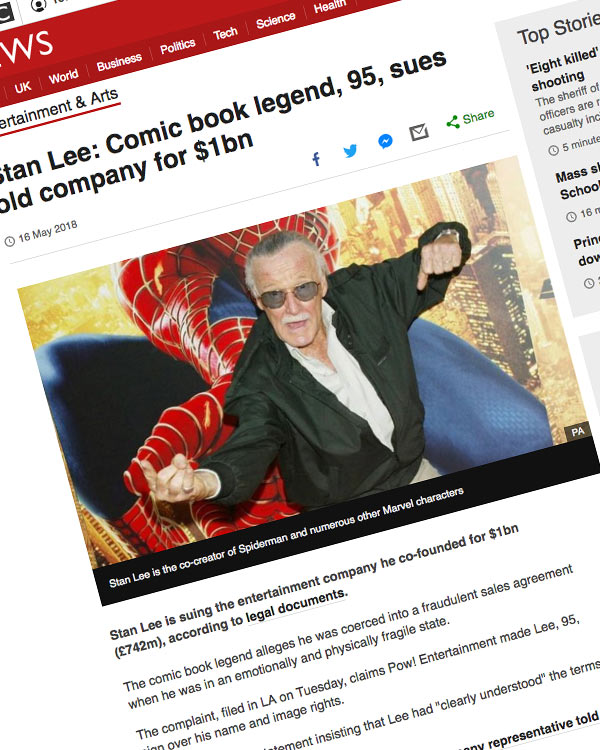 Fairness Rocks News Stan Lee: Comic book legend, 95, sues old company for $1bn