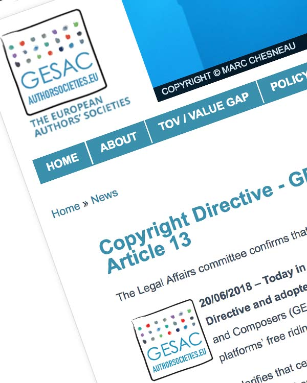 Fairness Rocks News Copyright Directive – GESAC welcomes JURI vote that adopted Article 13
