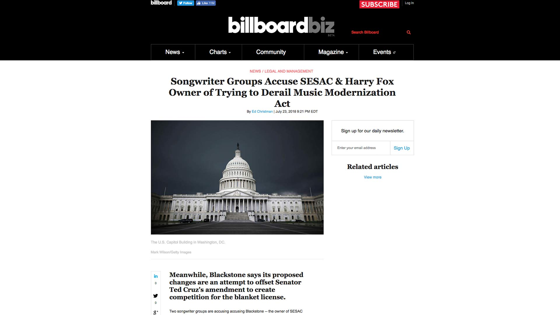 Fairness Rocks News Songwriter Groups Accuse SESAC & Harry Fox Owner of Trying to Derail Music Modernization Act