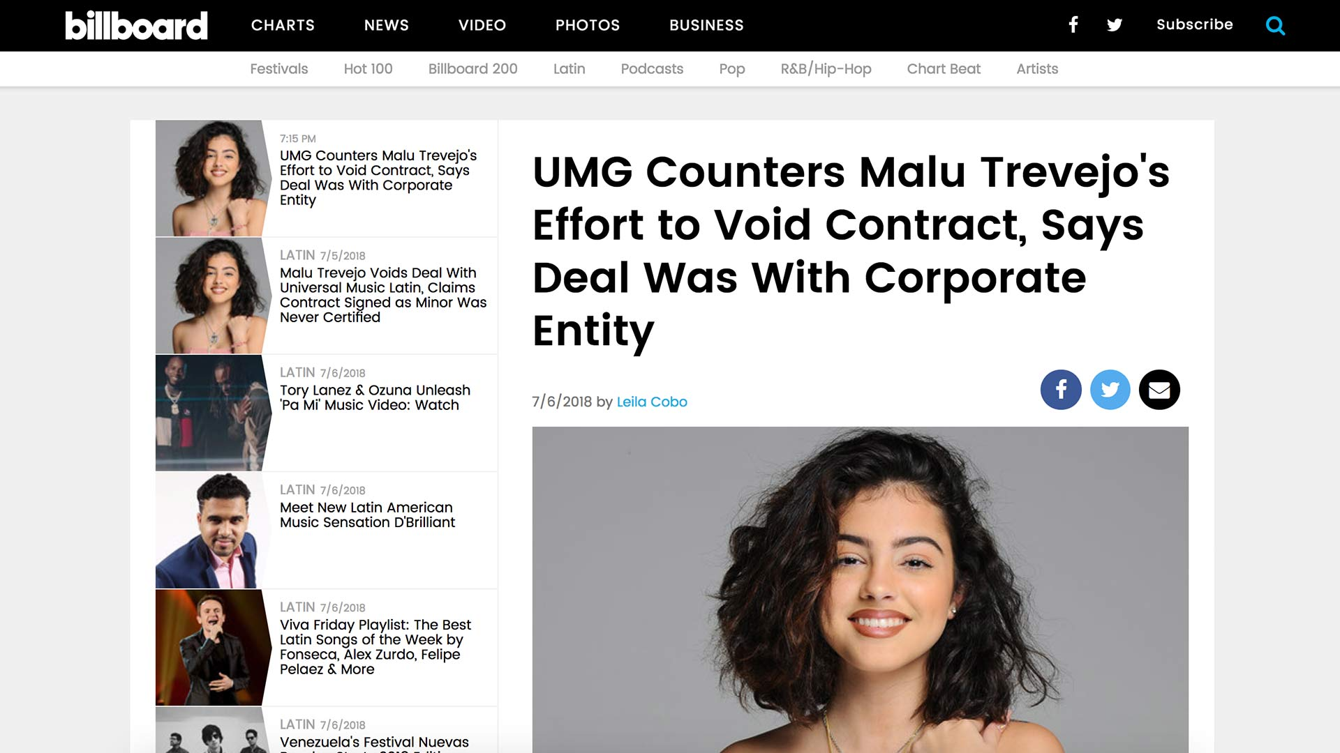 Fairness Rocks News UMG Counters Malu Trevejo's Effort to Void Contract, Says Deal Was With Corporate Entity