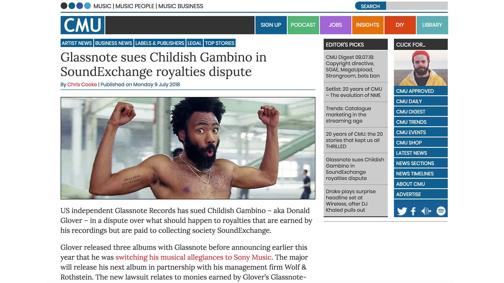Fairness Rocks News Glassnote sues Childish Gambino in SoundExchange royalties dispute