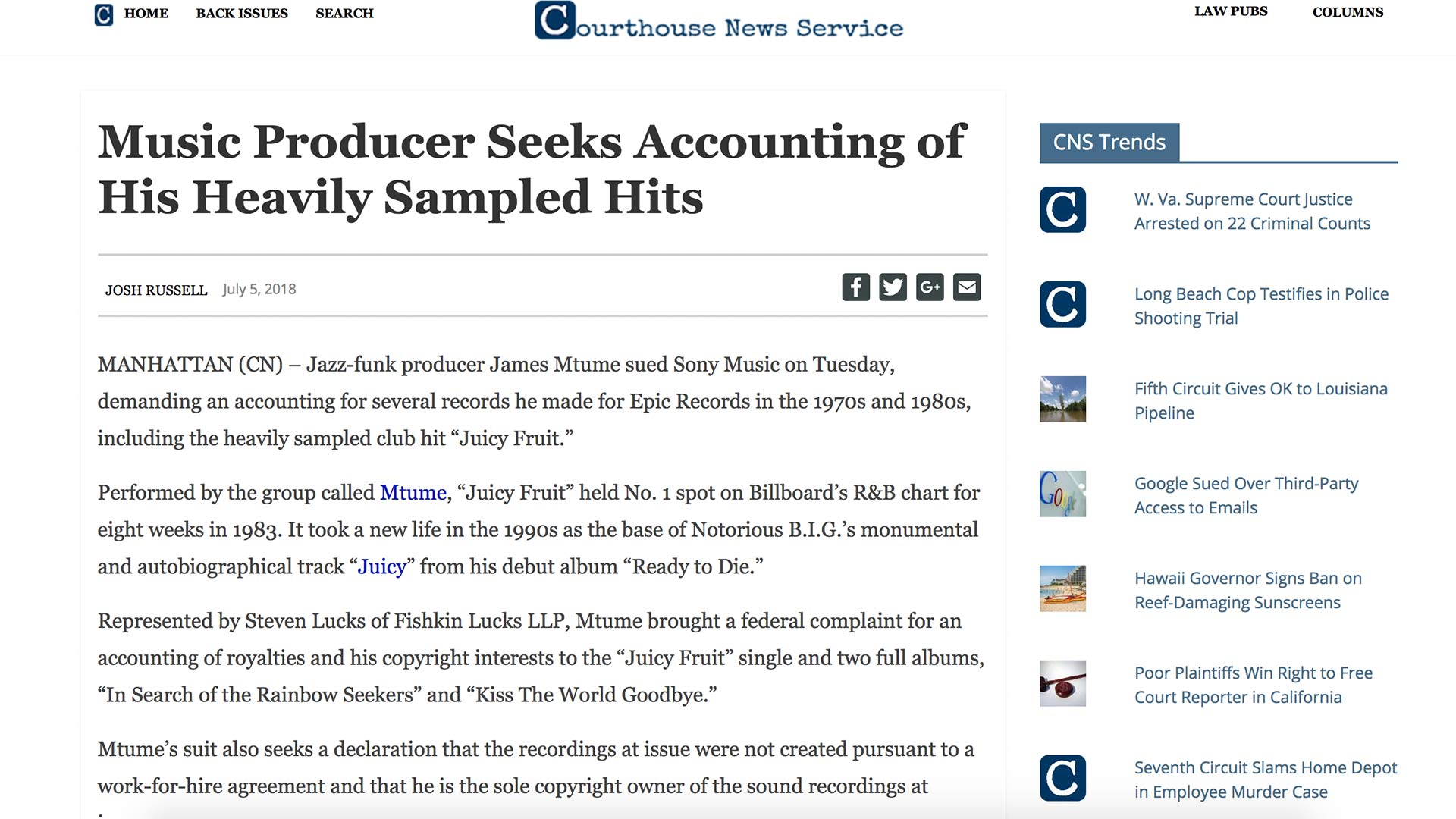 Fairness Rocks News Music Producer Seeks Accounting of His Heavily Sampled Hits