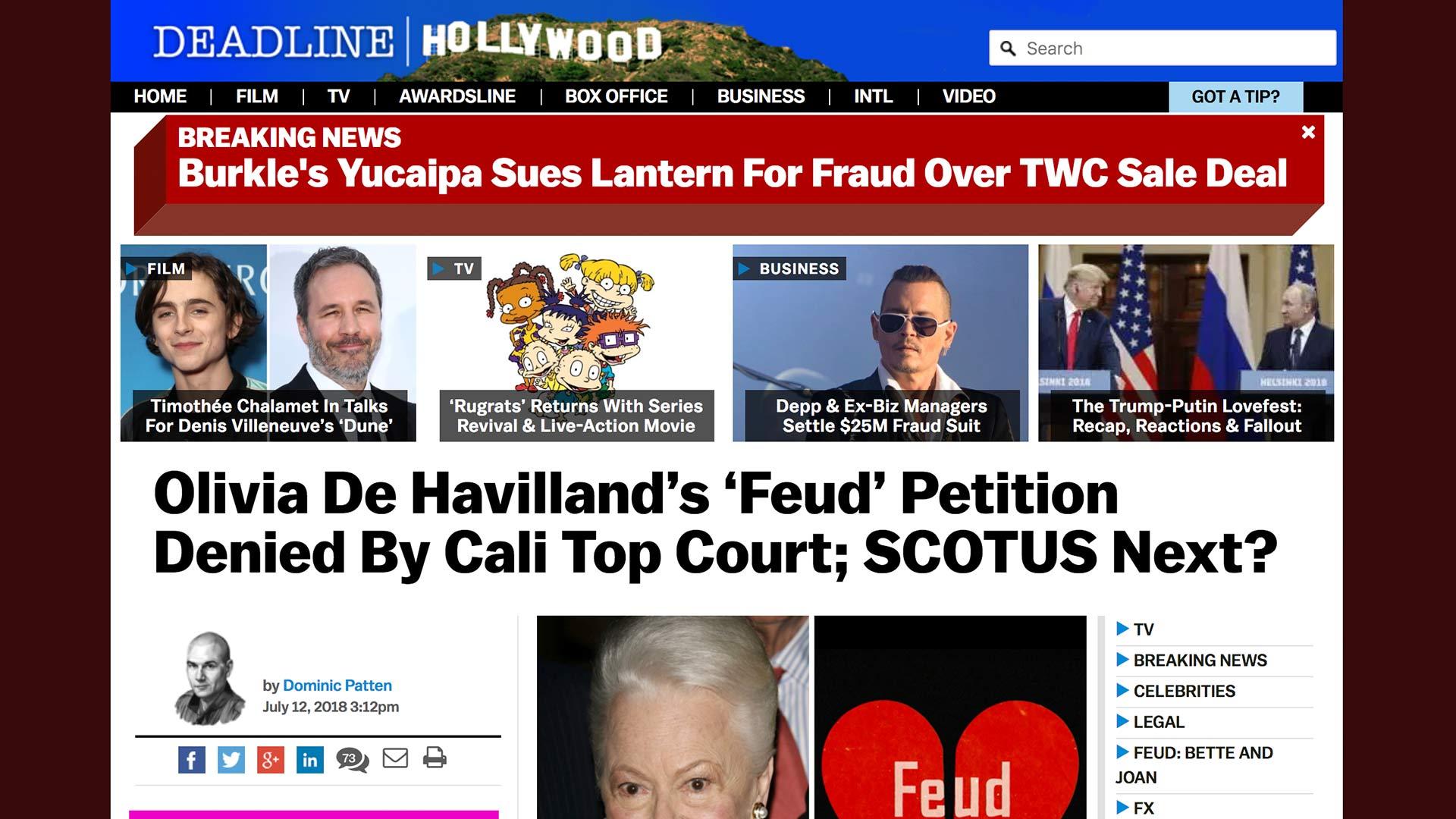 Fairness Rocks News Olivia De Havilland's 'Feud' Petition Denied By Cali Top Court; SCOTUS Next?