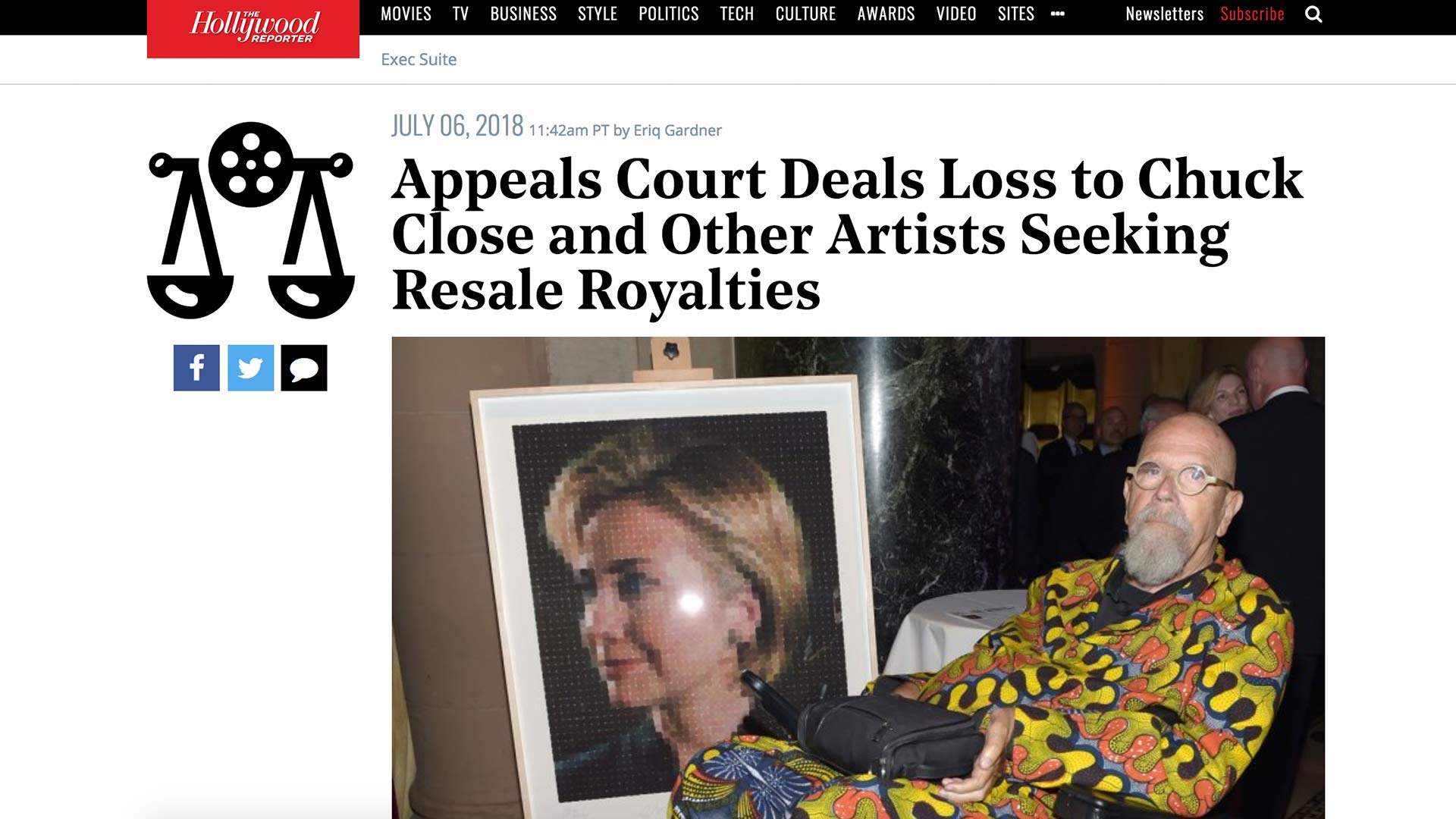 Fairness Rocks News Appeals Court Deals Loss to Chuck Close and Other Artists Seeking Resale Royalties