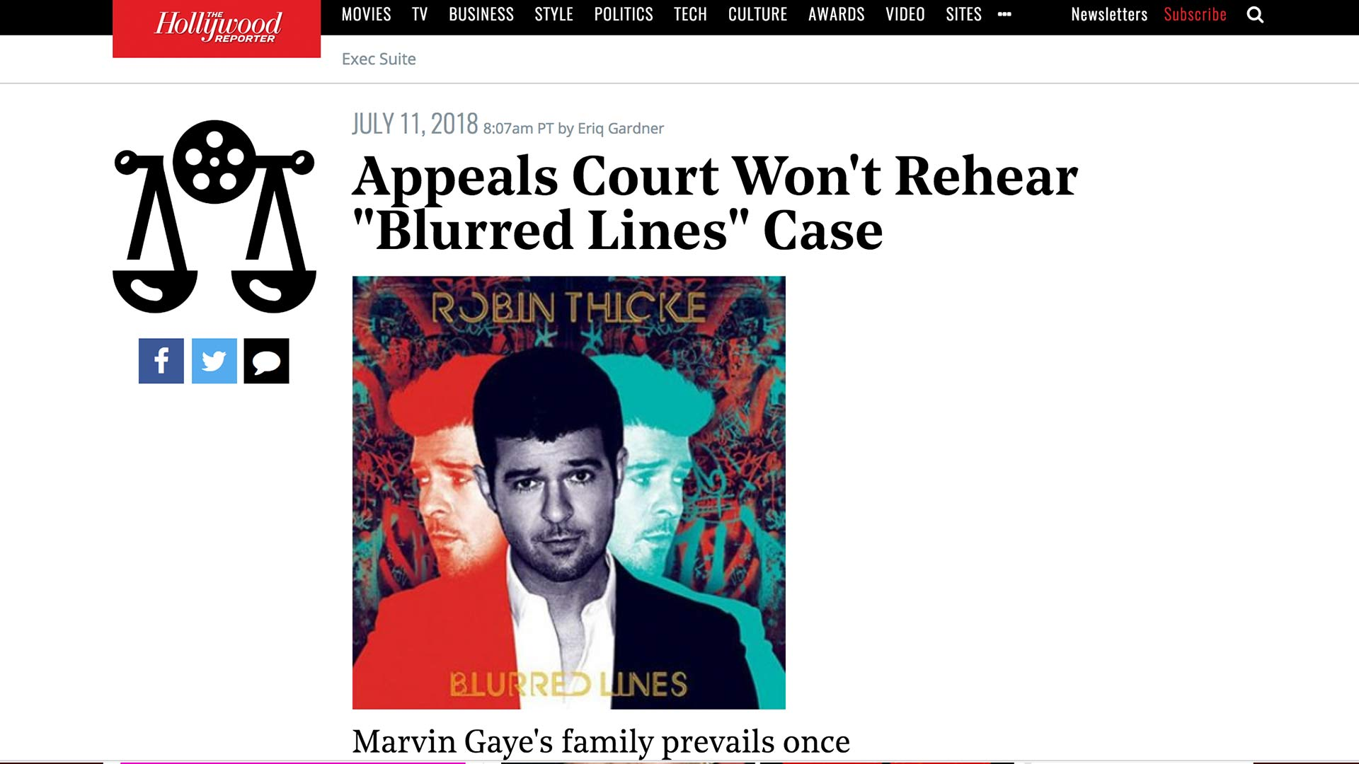 "Fairness Rocks News Appeals Court Won't Rehear ""Blurred Lines"" Case"