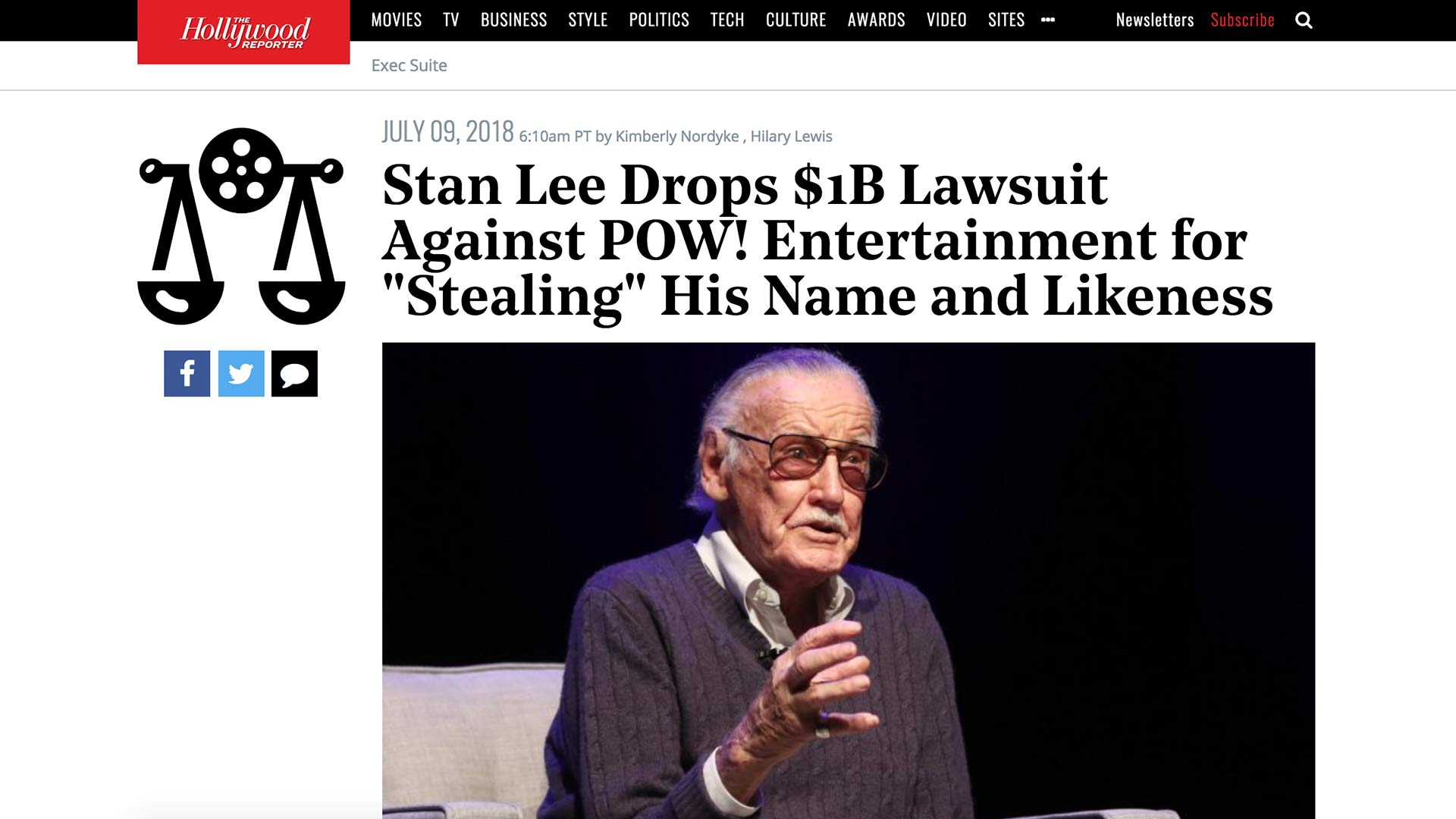 "Fairness Rocks News Stan Lee Drops $1B Lawsuit Against POW! Entertainment for ""Stealing"" His Name and Likeness"