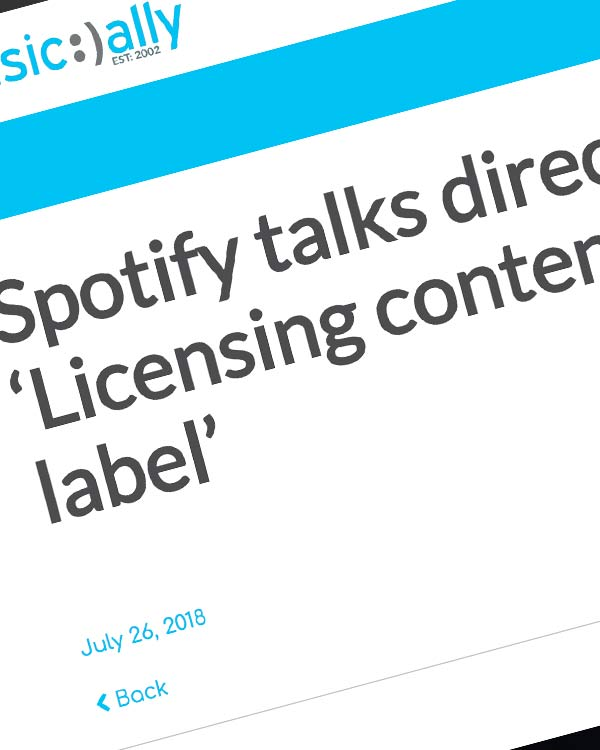 Fairness Rocks News Spotify talks direct artist deals: 'Licensing content doesn't make us a label'