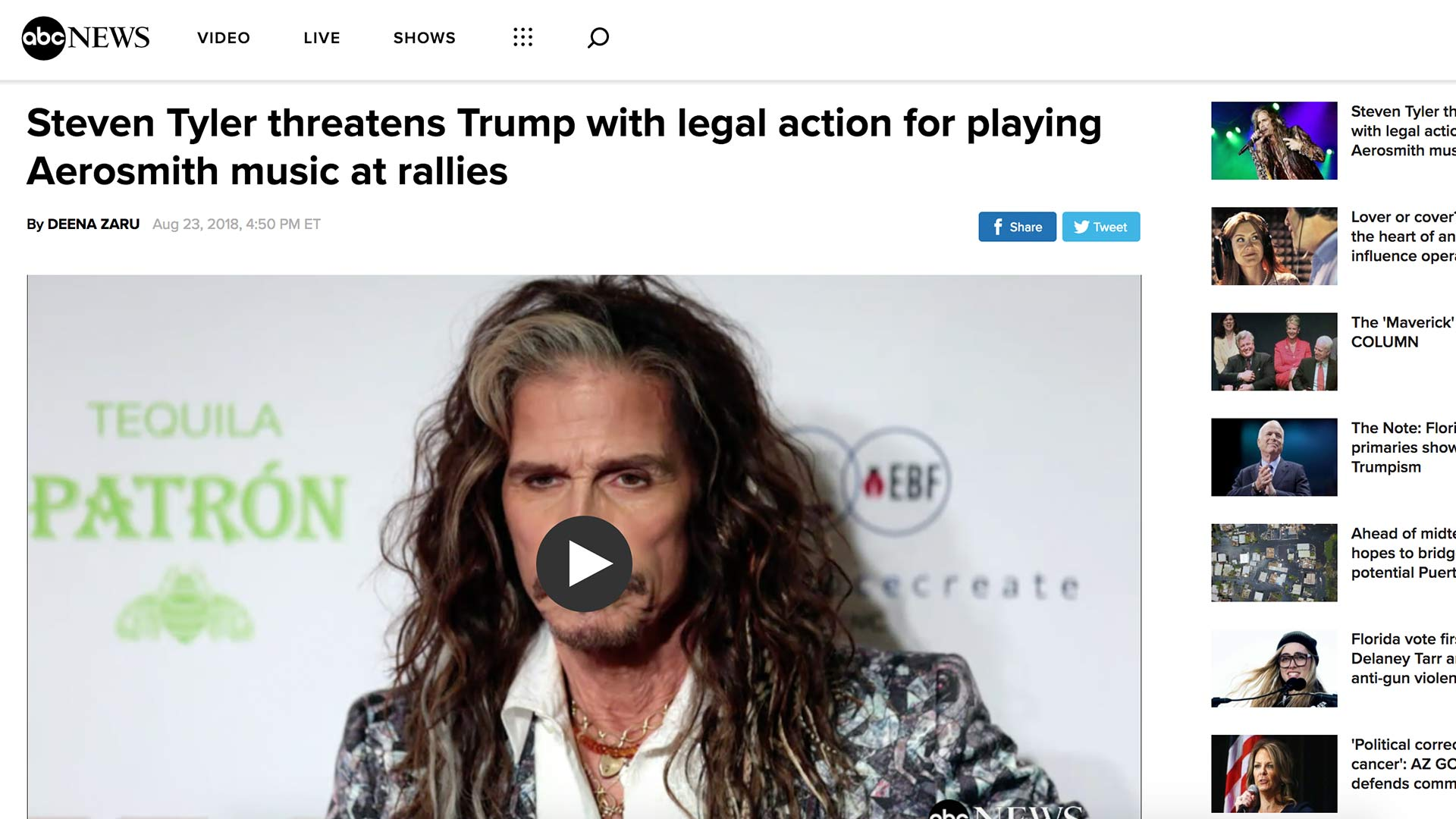 Fairness Rocks News Steven Tyler threatens Trump with legal action for playing Aerosmith music at rallies
