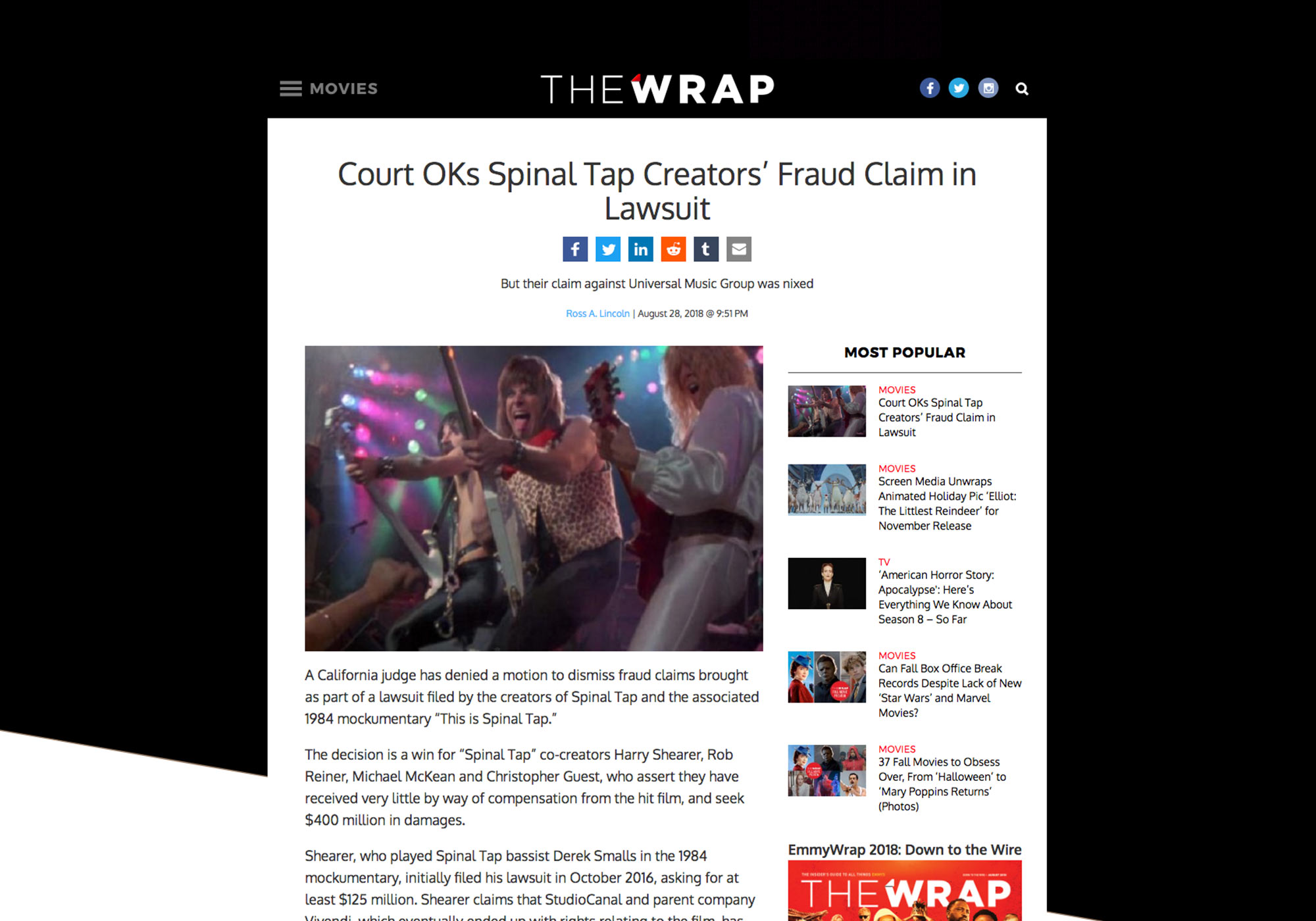 Fairness Rocks News Court OKs Spinal Tap Creators' Fraud Claim in Lawsuit
