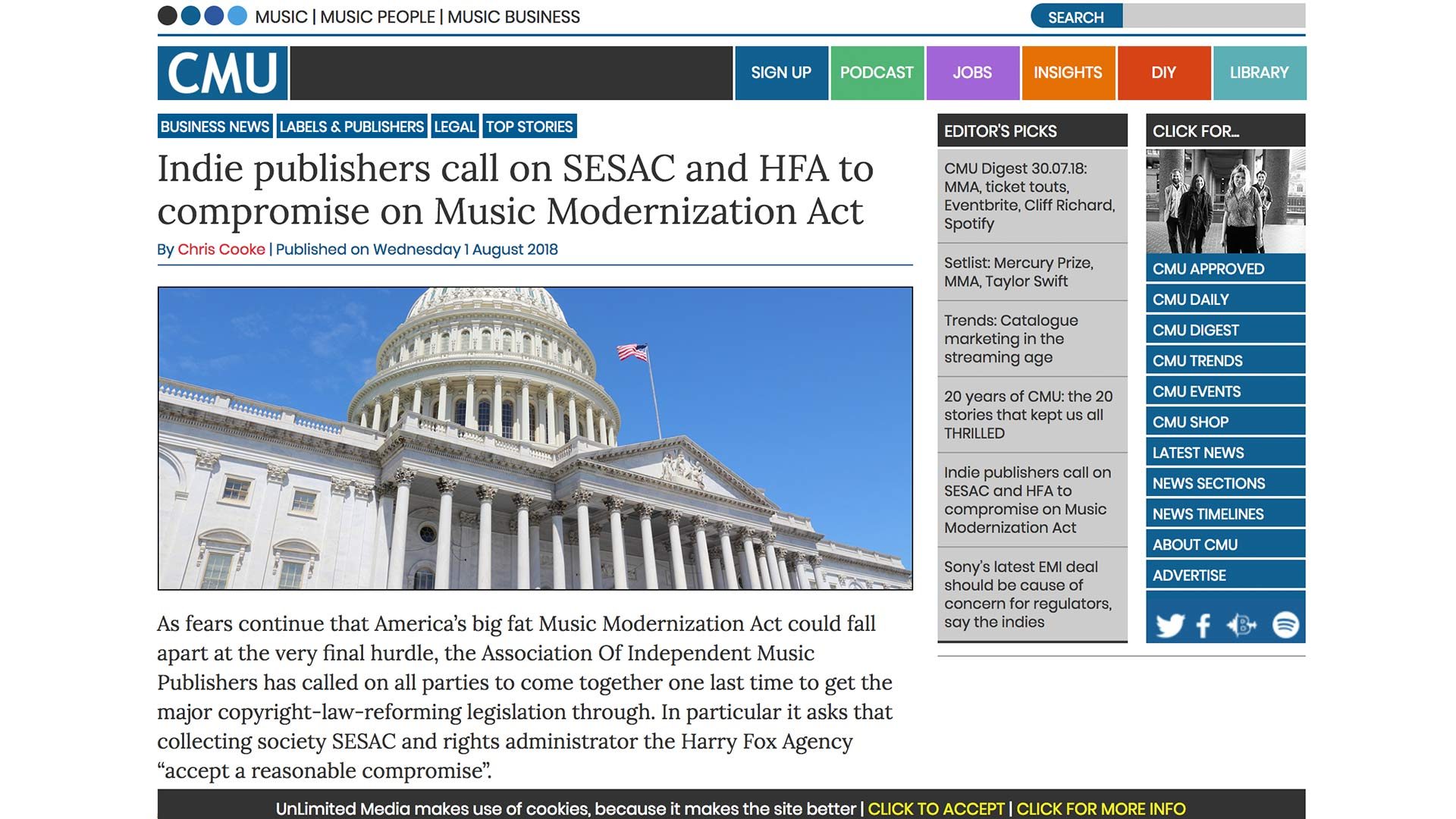 Fairness Rocks News Indie publishers call on SESAC and HFA to compromise on Music Modernization Act