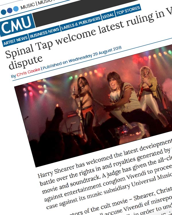 Fairness Rocks News Spinal Tap welcome latest ruling in Vivendi dispute