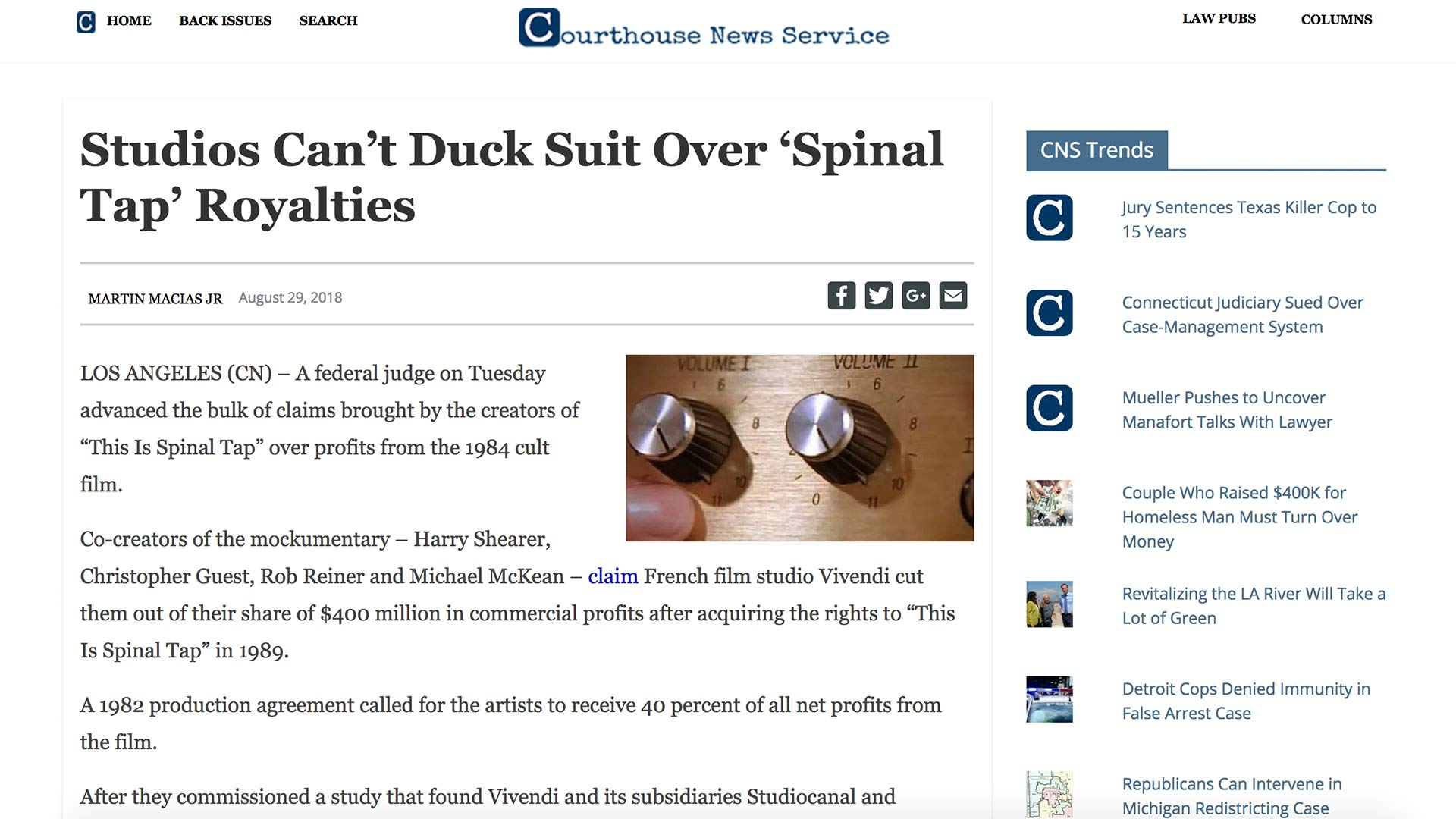 Fairness Rocks News Studios Can't Duck Suit Over 'Spinal Tap' Royalties