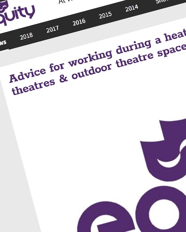 Fairness Rocks News Advice for working during a heatwave in theatres & outdoor theatre spaces