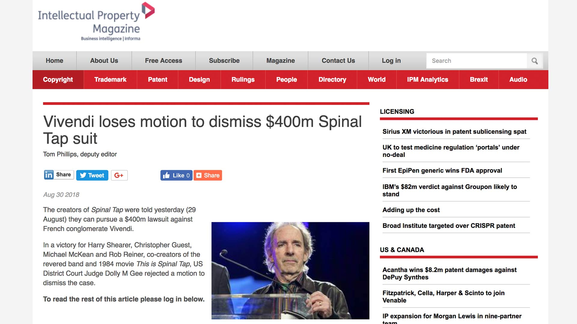 Fairness Rocks News Vivendi loses motion to dismiss $400m Spinal Tap suit